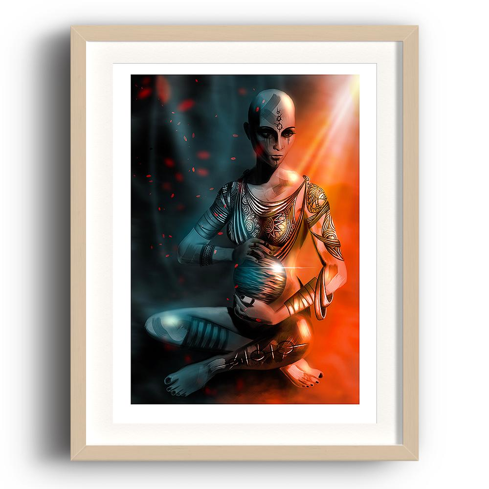 A digital painting by Lily Bourne printed on eco fine art paper titled Exist which shows a shaven headed tattooed female sitting cross legged hold a shining sphere with light cascading from above. The image is set in a beech coloured picture frame.