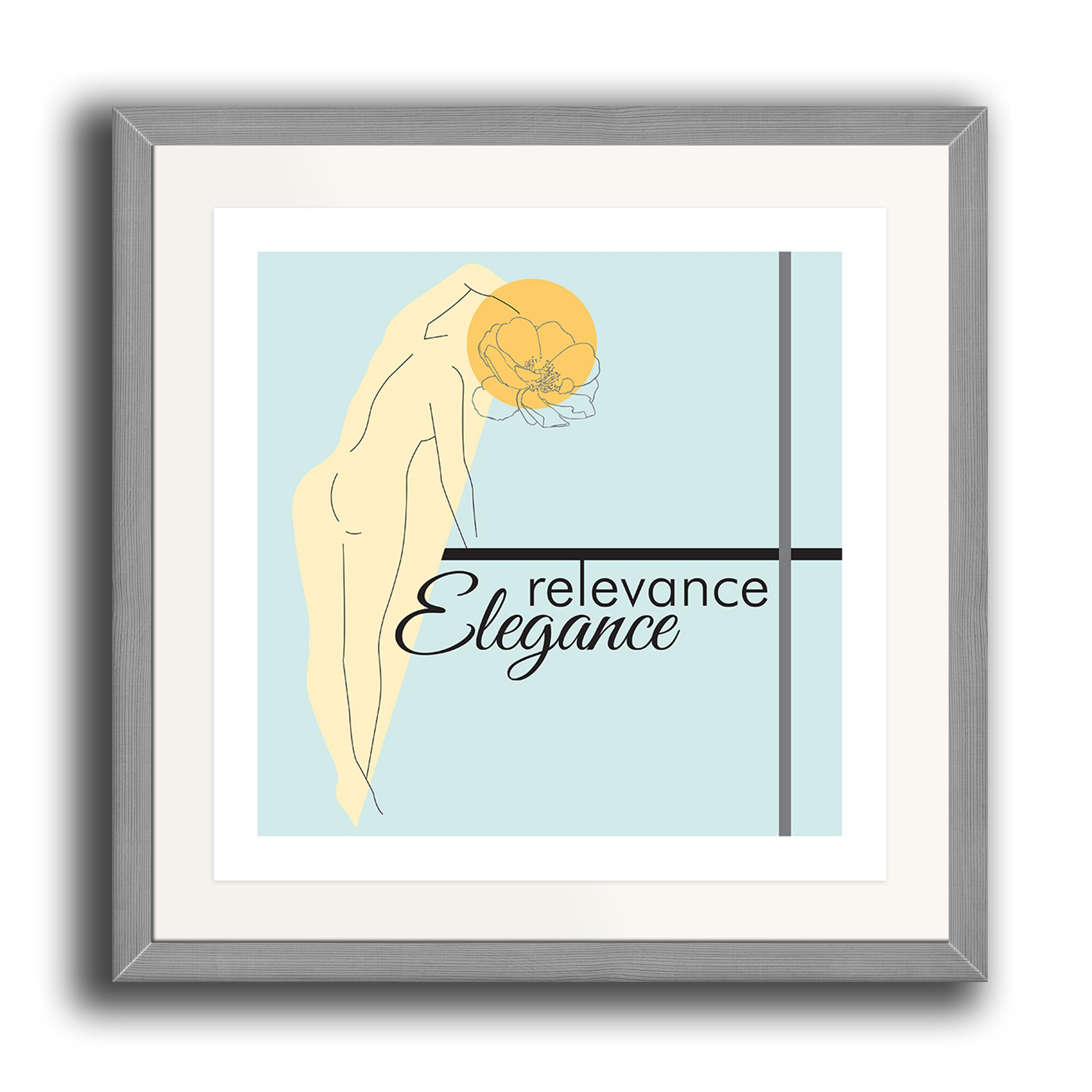 A watercolour print by Clarrie-Anne on eco fine art paper titled Relevance Elegance showing outline of a female with a line drawn flow head and typography with coloured shapes. The image is set in a grey coloured picture frame.