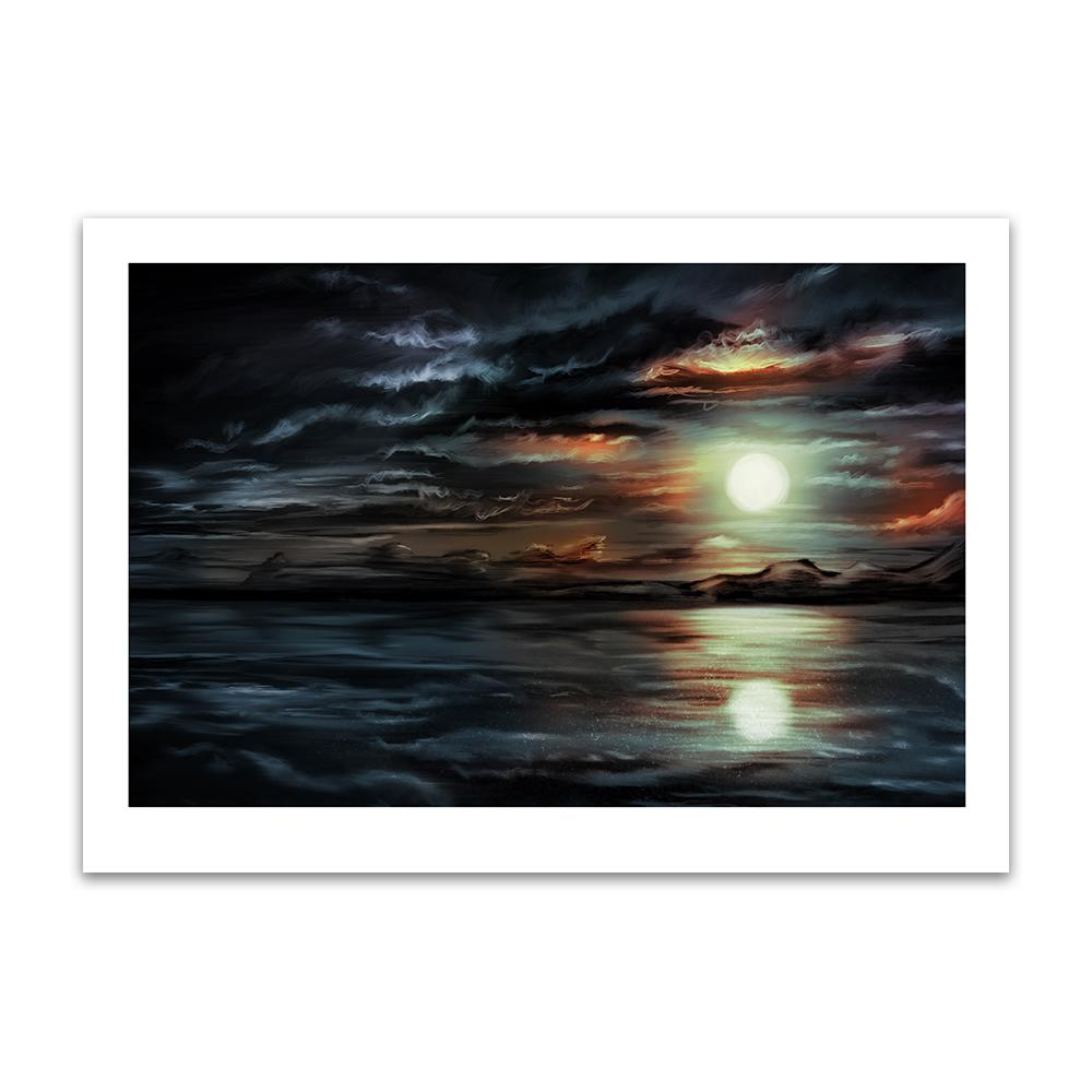 A digital painting by Lily Bourne printed on eco fine art paper titled Moonlight Calm showing a moonlit night with the moon relecting in the calm sea.