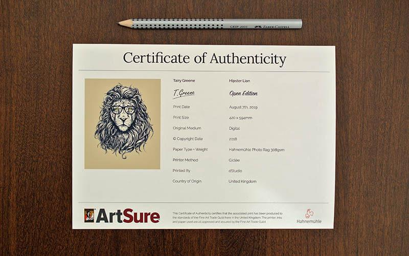 Example of certificate of authenticity.