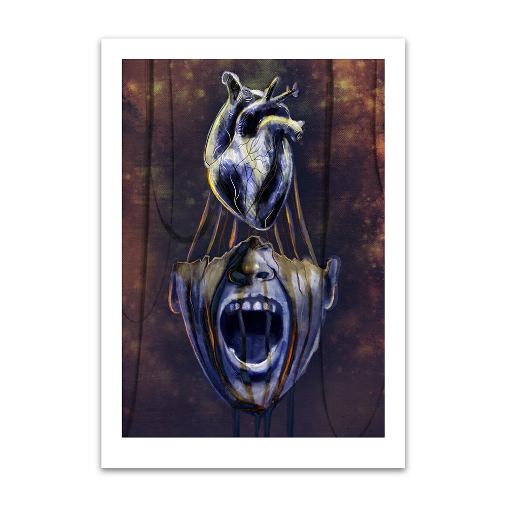 A digital painting by Lily Bourne printed on eco fine art paper titled Mind Of Midas showing an open mouth of King Midas with his heart above his head.