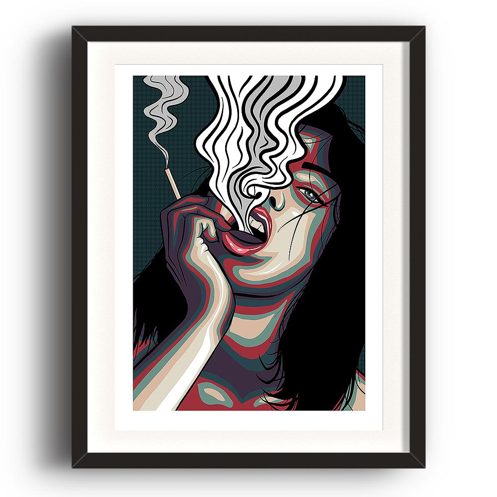 A digital pop art painting by Lily Bourne printed on eco fine art paper titled Release showing showing a female exhale smoke from a cigarette which is holding. The image is set in a black coloured picture frame.