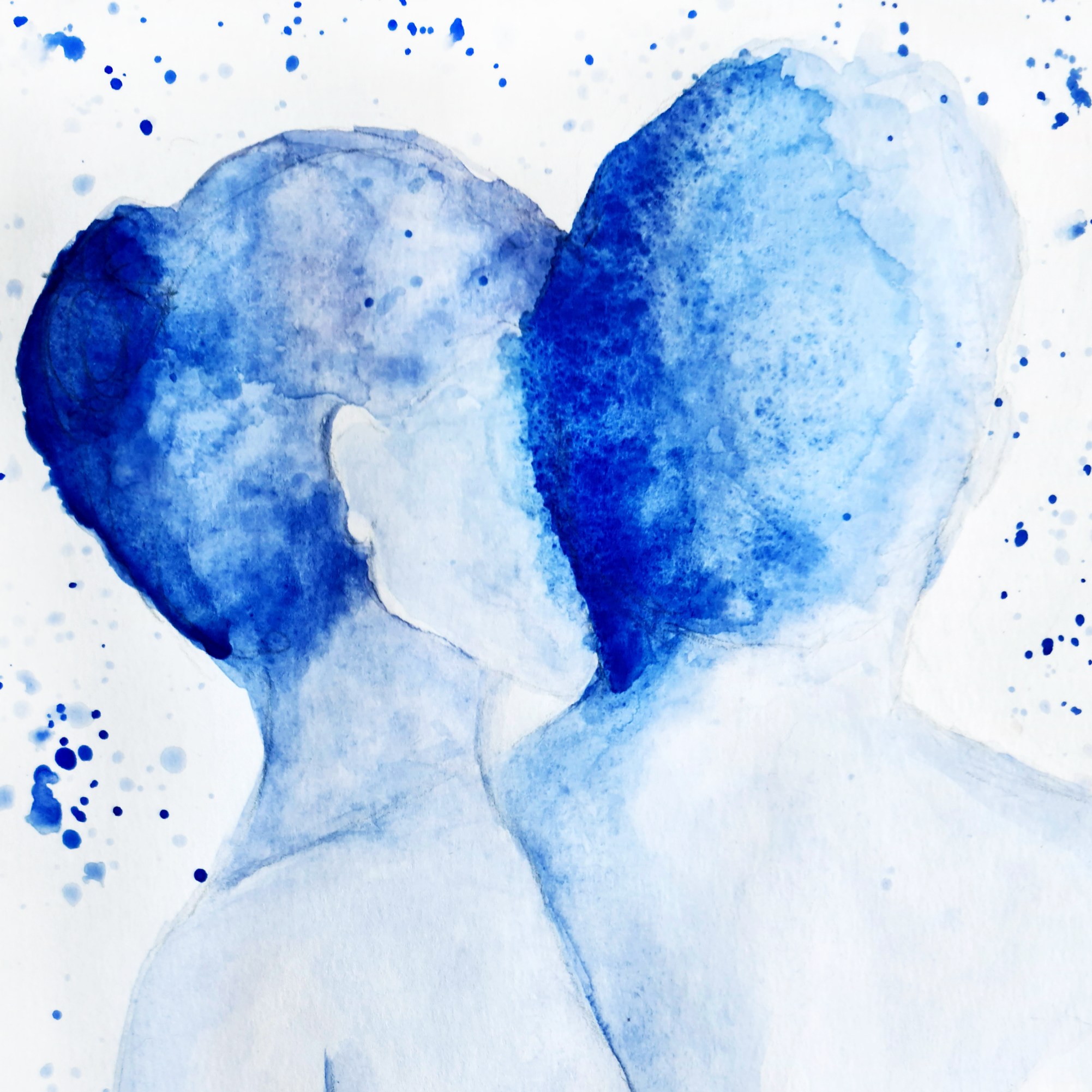 Close up of a watercolour print by Clarrie-Anne on eco fine art paper titled Just Us. A naked top half of a male and female facing away from the viewer in blue watercolour with splash background.
