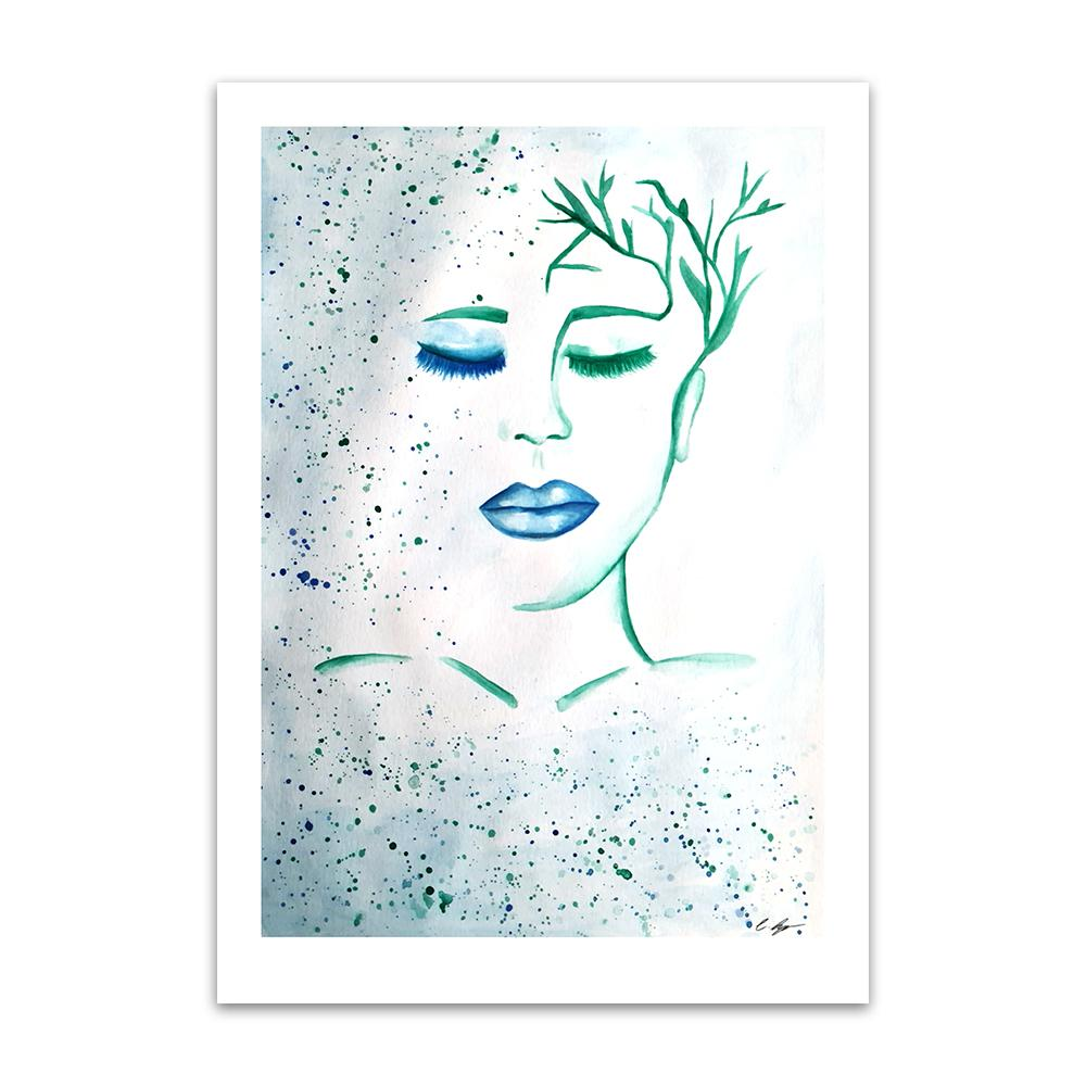 A watercolour print by Clarrie-Anne on eco fine art paper titled Patience showing a female with blue lip and hair paints as plants.