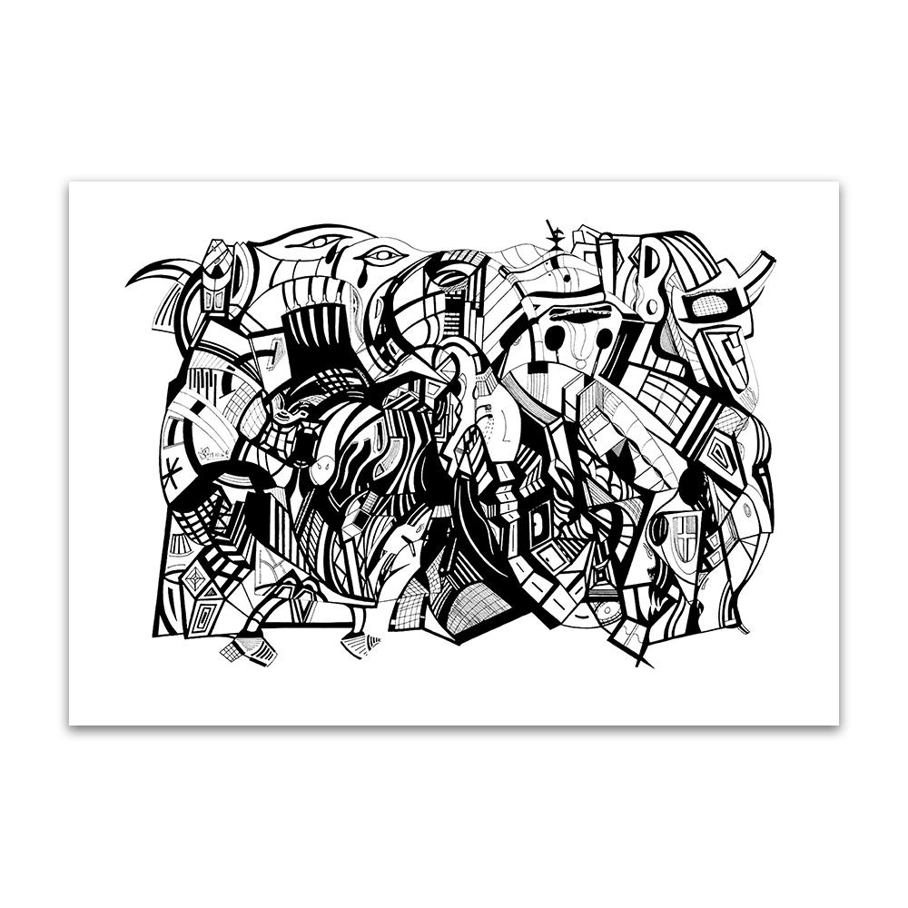 A fine art print from Jason clarke titled Teardrops drawn with a black Pentel pen.