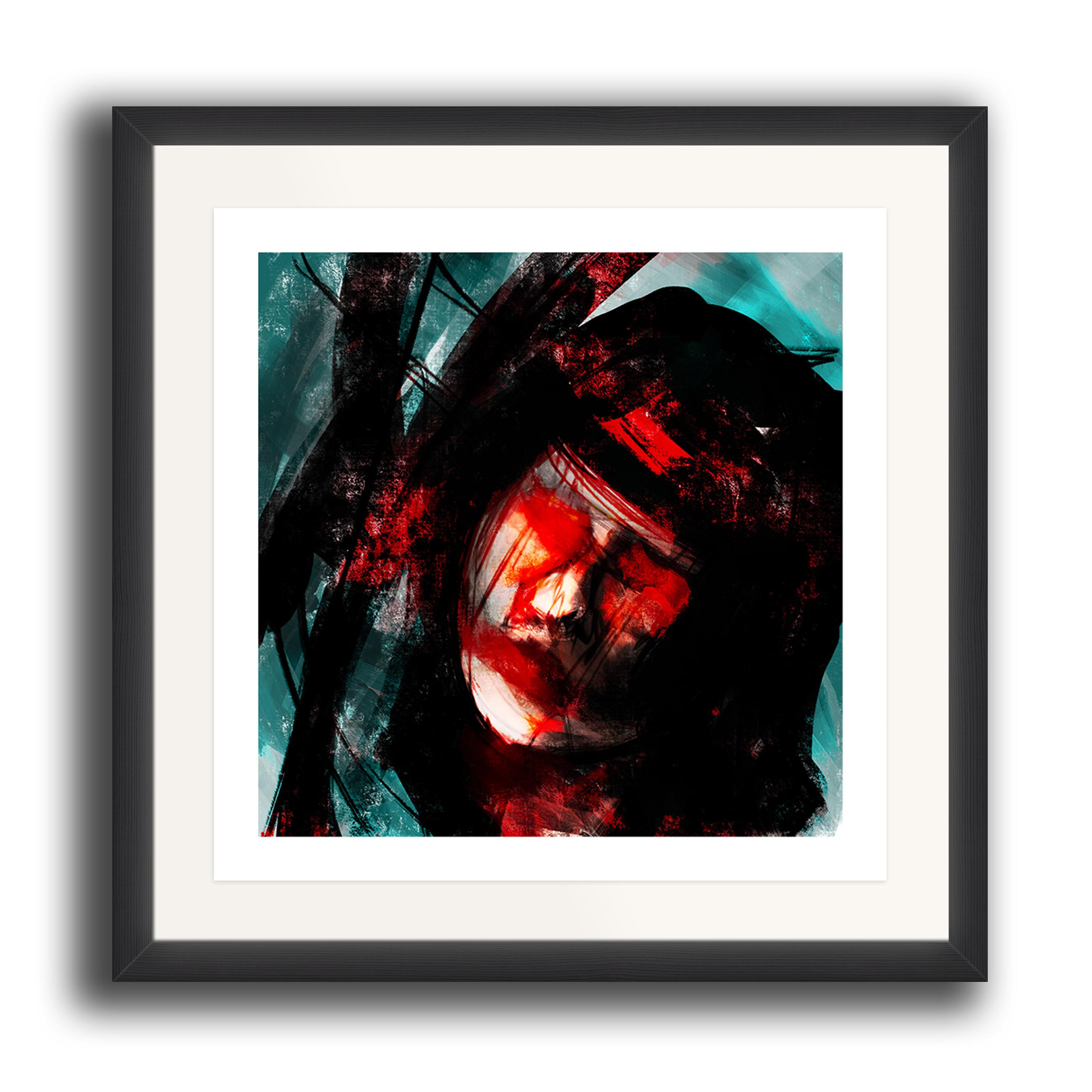 An abstract digital painting by Lily Bourne printed on eco fine art paper titled Tuned showing a female face amongst turquoise, black and red lines. The image is set in a black coloured picture frame.