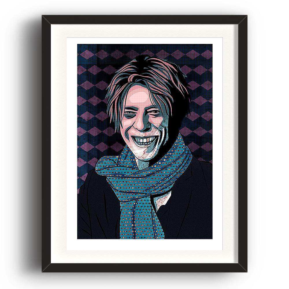 A digital painting by Lily Bourne printed on eco fine art paper titled David Bowie 2.1 showing the music legend digital painted in purple from around 2002.