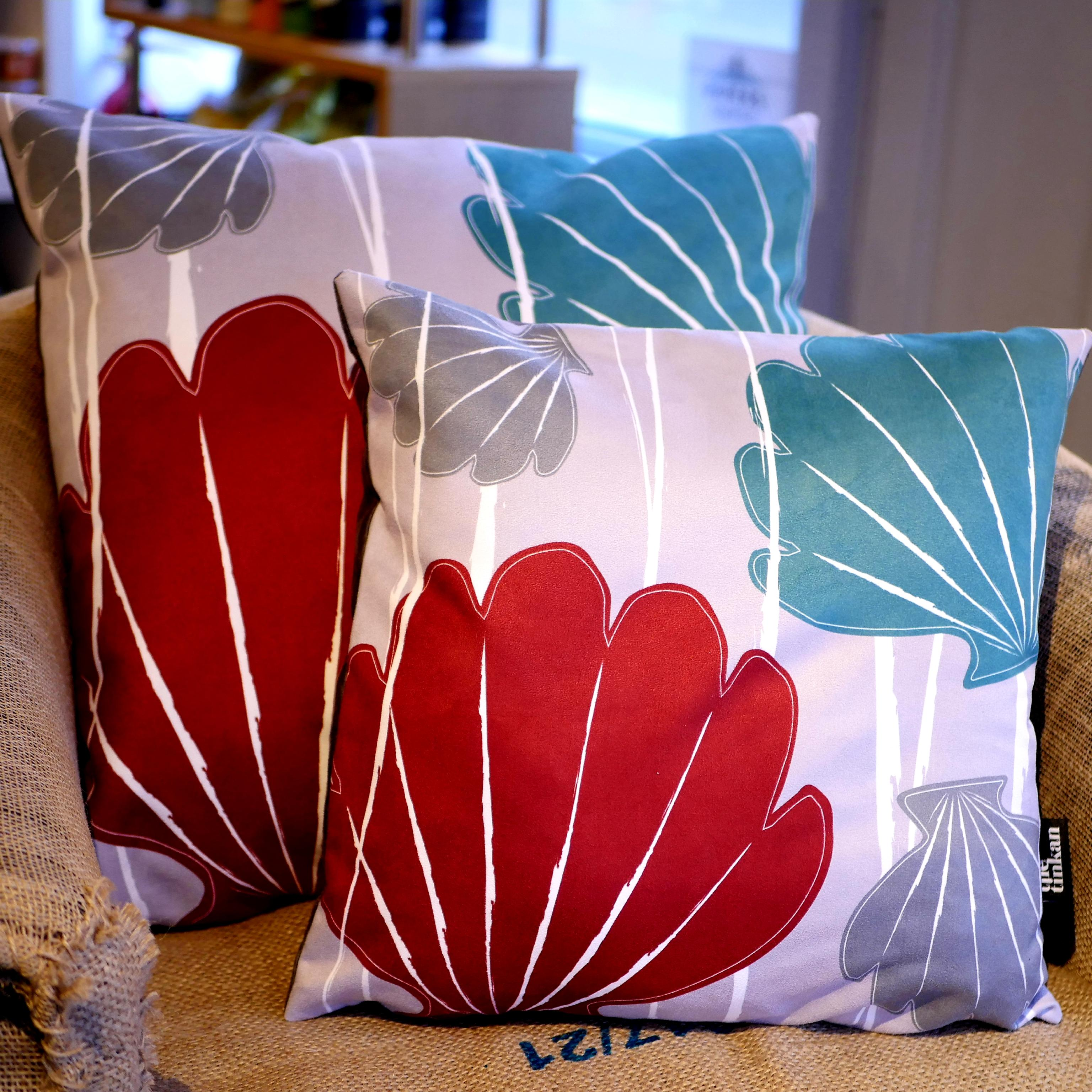 Aqua teal, red & grey faux suede soft feel Abstract Shells Cushions, 43cm & 57cm square, with luxury inner pads designed by thetinkan. VIEW PRODUCT >>