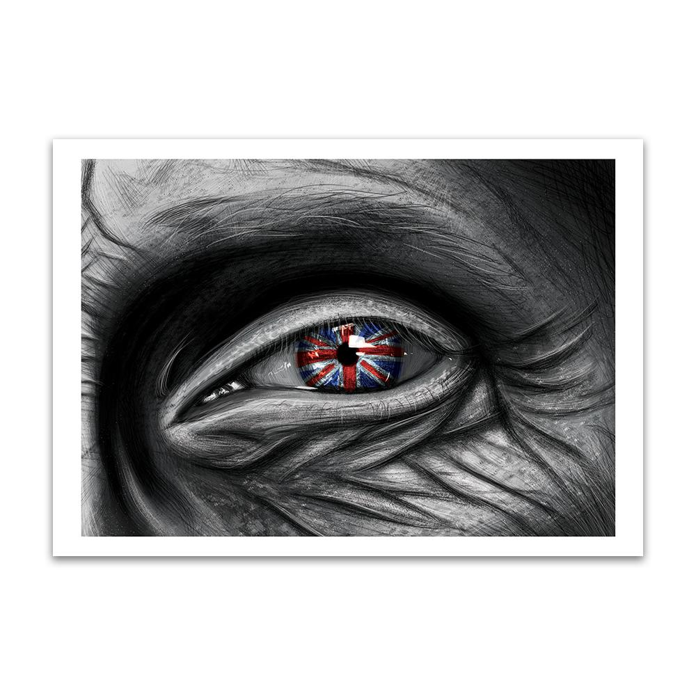 A digital painting by Lily Bourne called Patriot showing the closeup of an elderly persons eye with wrinkled skin around it showing the reflection of a union jack in the iris.