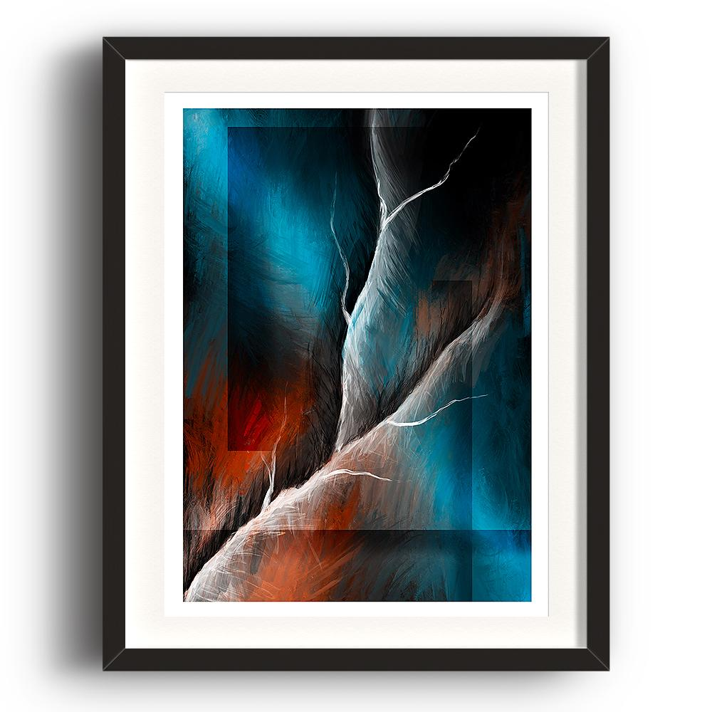 A digital painting called Structure 1.0 by Lily Bourne showing a white lightning strike through an abstract blue and orange background. The image is set in a black coloured picture frame.