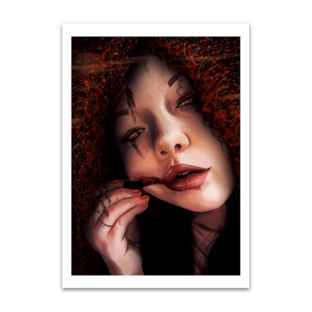 A digital painting called Repeat by Lily Bourne showing a curly haired female with a eyeshadow smudged after crying. She is applying lipstick which she is smudging across her face and has dirt beneath her nails.