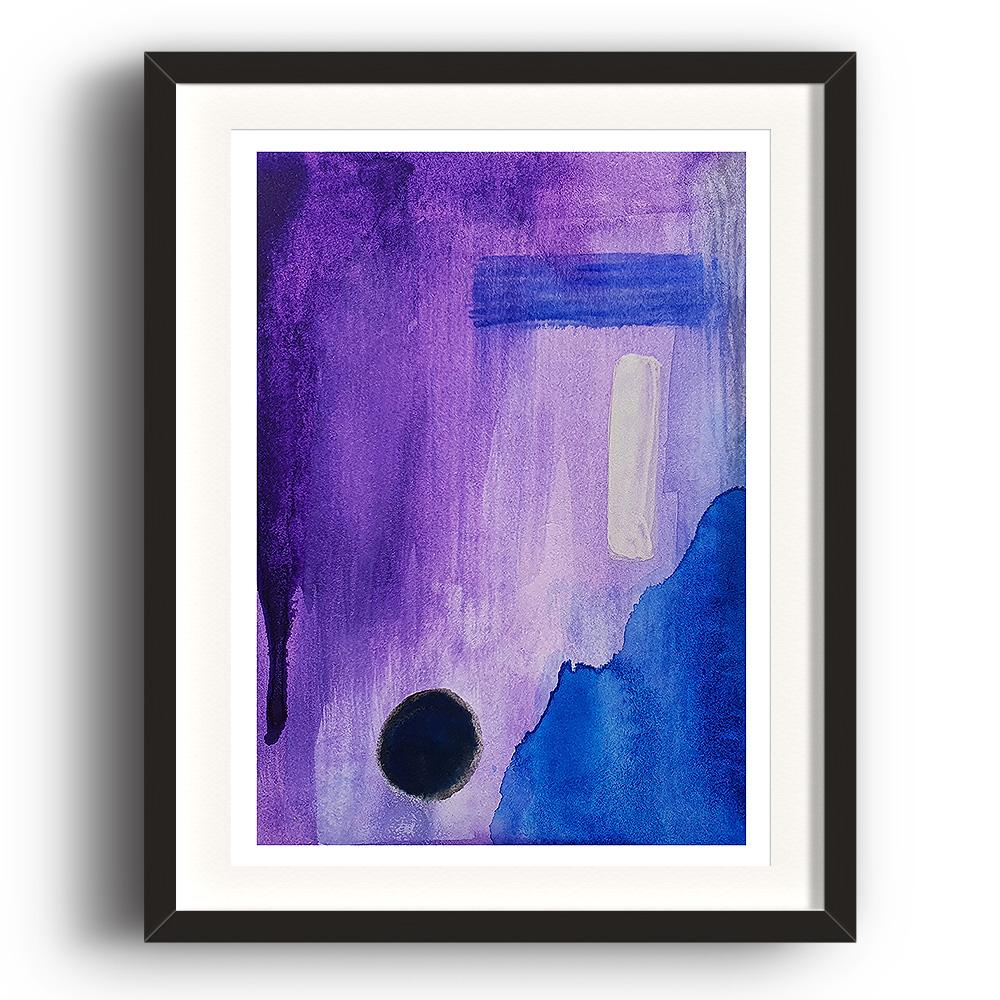 An abstract watercolour print by Clarrie-Anne on eco fine art paper titled Darkness With Open Eyes showing a purple blue and black design. The image is set in a black coloured picture frame.