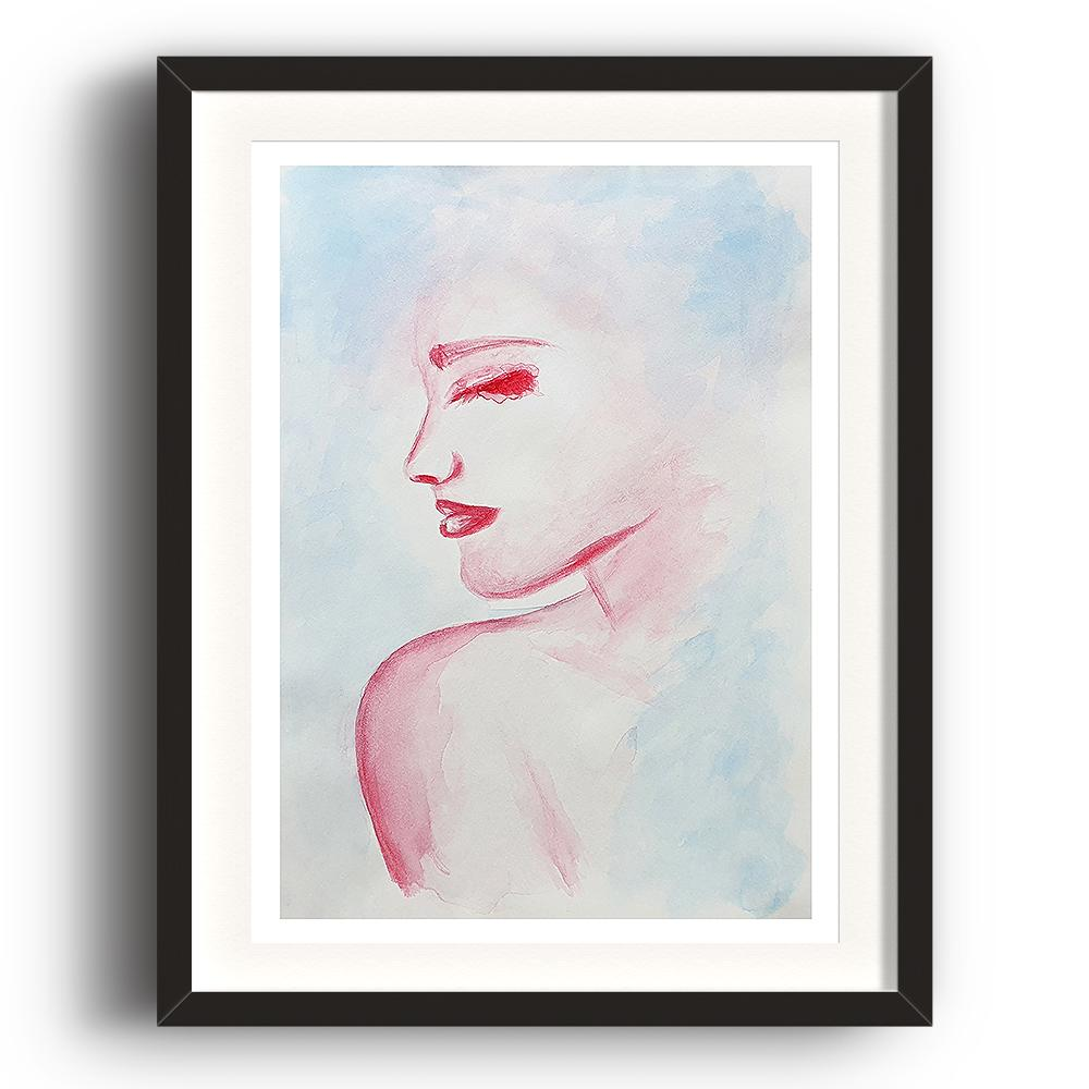 A watercolour print by Clarrie-Anne on eco fine art paper titled Solitude showing the head and shoulder of a female looking right painted in red with a blue wash background. The image is set in a black coloured picture frame.