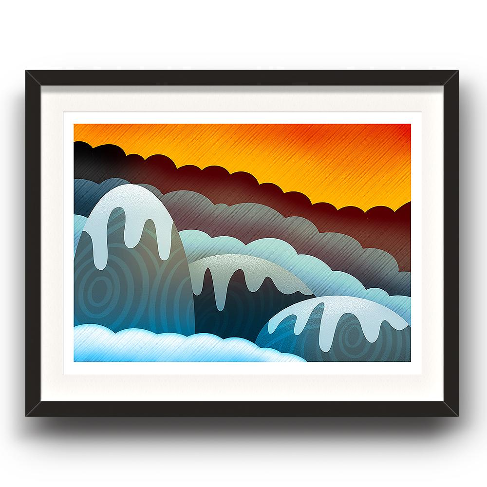 A digital painting called Mountain Glow by Lily Bourne showing an orange sky with snow covered rounded animated mountains. The image is set in a black coloured picture frame.
