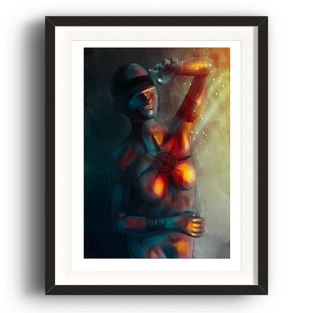 A digital painting by Lily Bourne printed on eco fine art paper titled Enlightened Moment showing an abstract blindfolded woman shielding herself from bright light and warmth. The image is set in a black coloured picture frame.