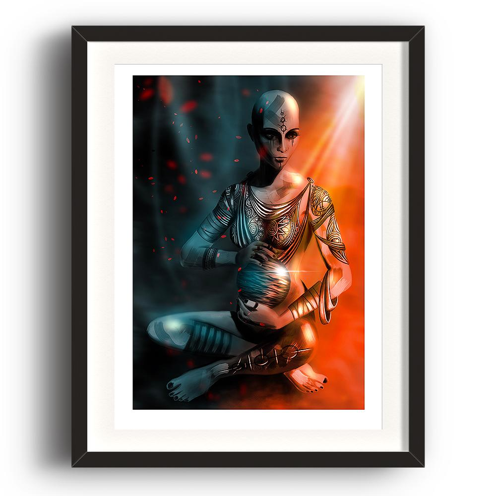 A digital painting by Lily Bourne printed on eco fine art paper titled Exist which shows a shaven headed tattooed female sitting cross legged hold a shining sphere with light cascading from above. The image is set in a black coloured picture frame.