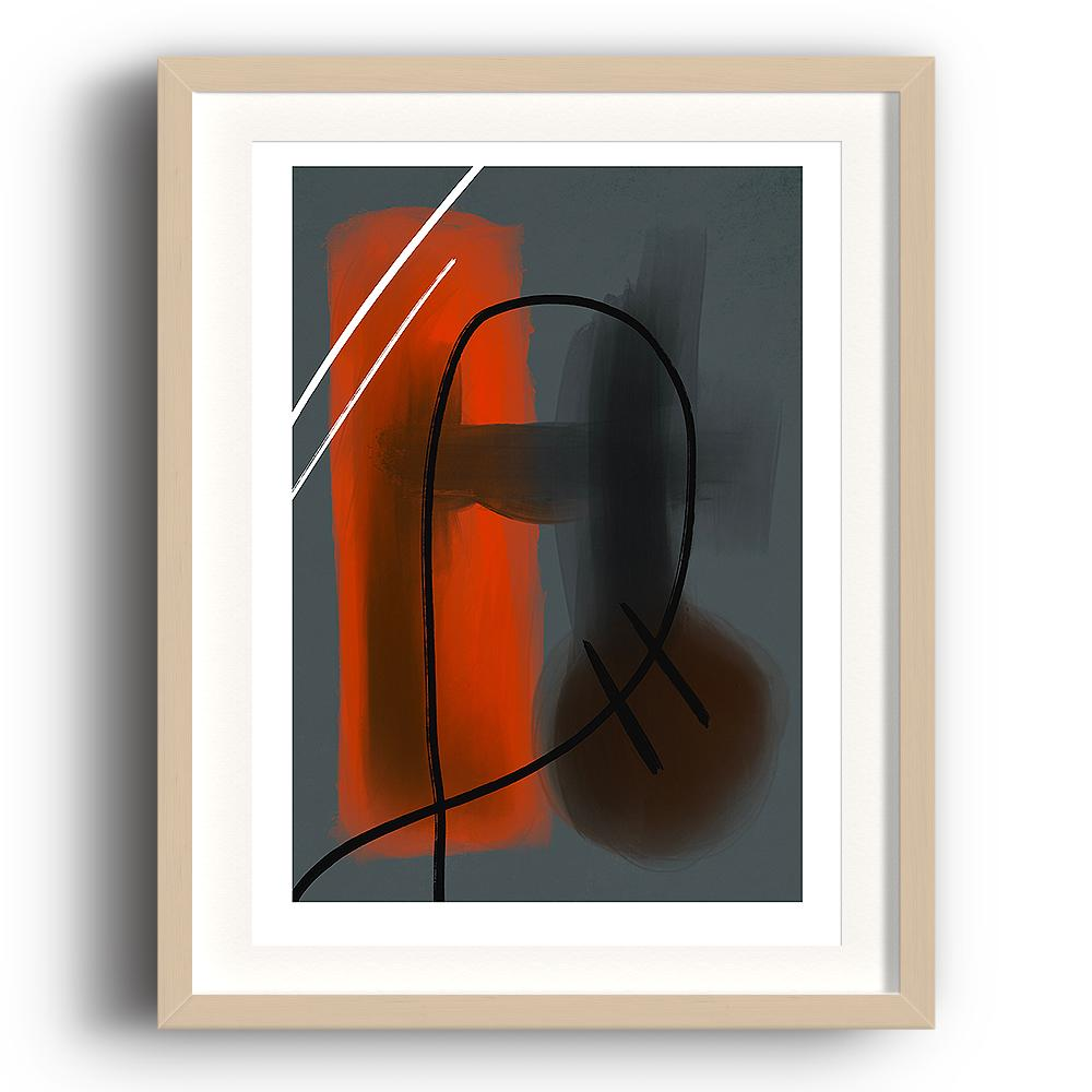 An abstract digital painting by Lily Bourne printed on eco fine art paper titled Warmth Prevailing showing warmth red tones against blue. Hand drawn black and white lines crossing the colours. The image is set in a beech coloured picture frame.
