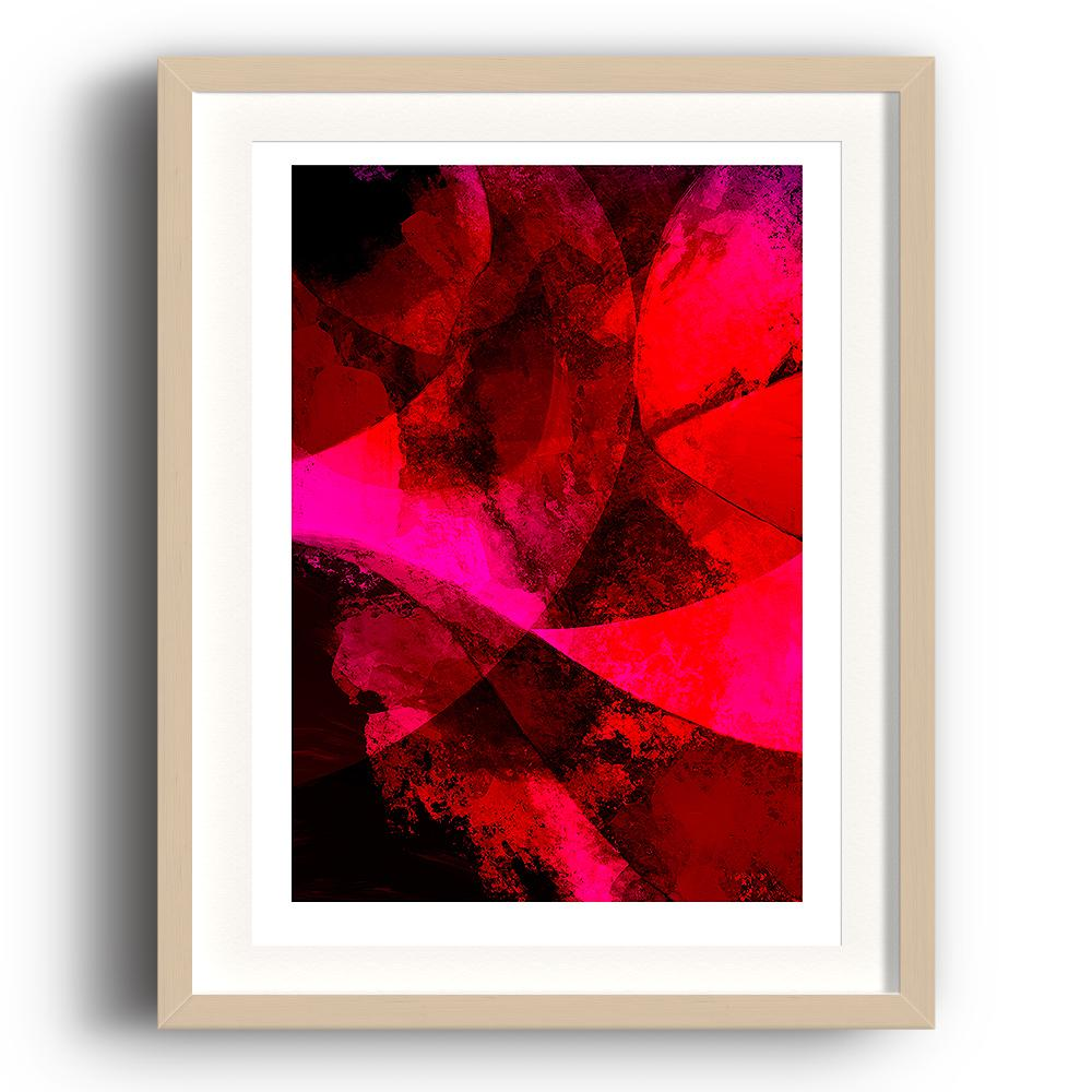 A digital painting by Lily Bourne printed on eco fine art paper titled Red Passion From Within showing a series of curved lines and textures colour red, bright pink and black. The image is set in a beech coloured picture frame.