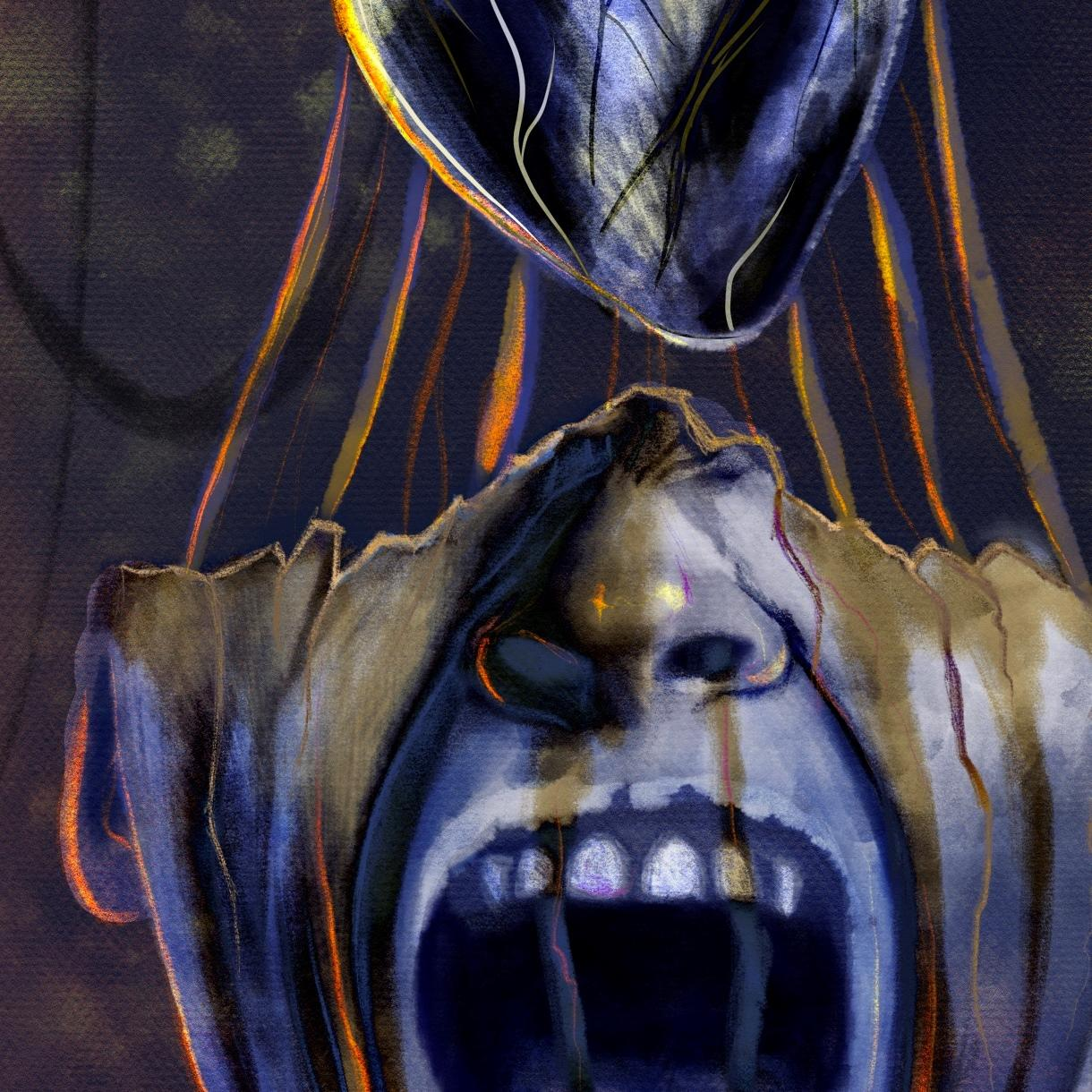 Close up of a digital painting by Lily Bourne printed on eco fine art paper titled Mind Of Midas showing an open mouth of King Midas with his heart above his head.