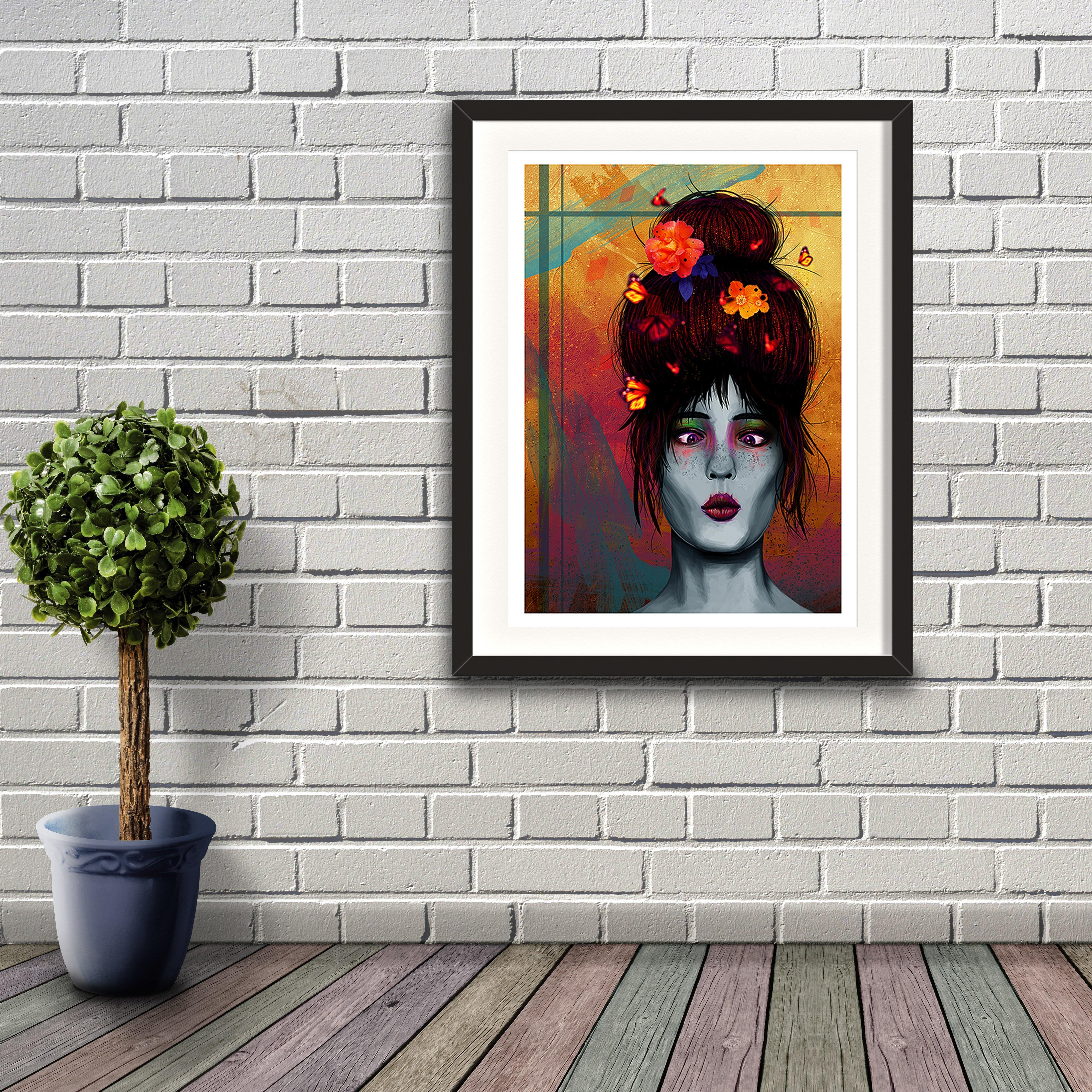 A digital painting called Butterfly Bonce by Lily Bourne showing a young lady with her hair and butterflies around her head. Her eyes are crossed as she looks at the butterflies around her. Artwork shown in a black frame on a brick wall.