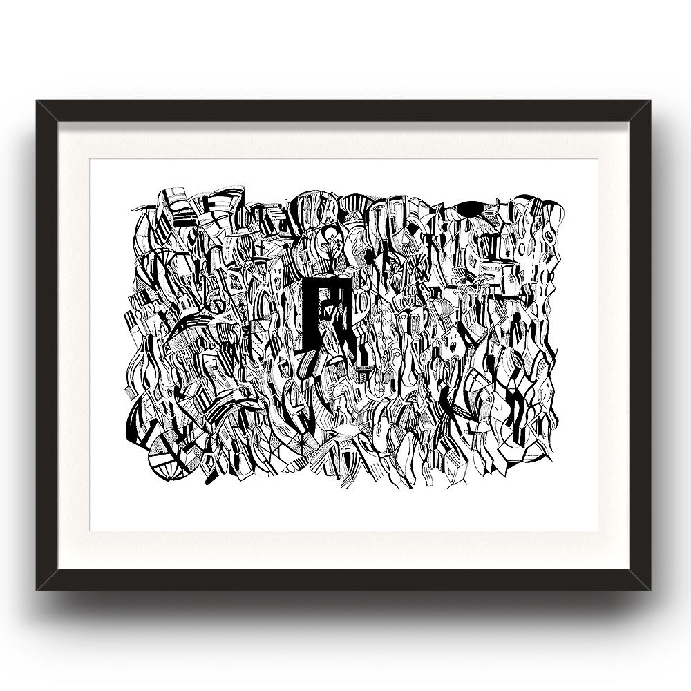 A fine art print from Jason Clarke titled Totally Messed Up drawn with a black Pentel pen. Dated 28/12/15. The image is set in a black coloured picture frame.