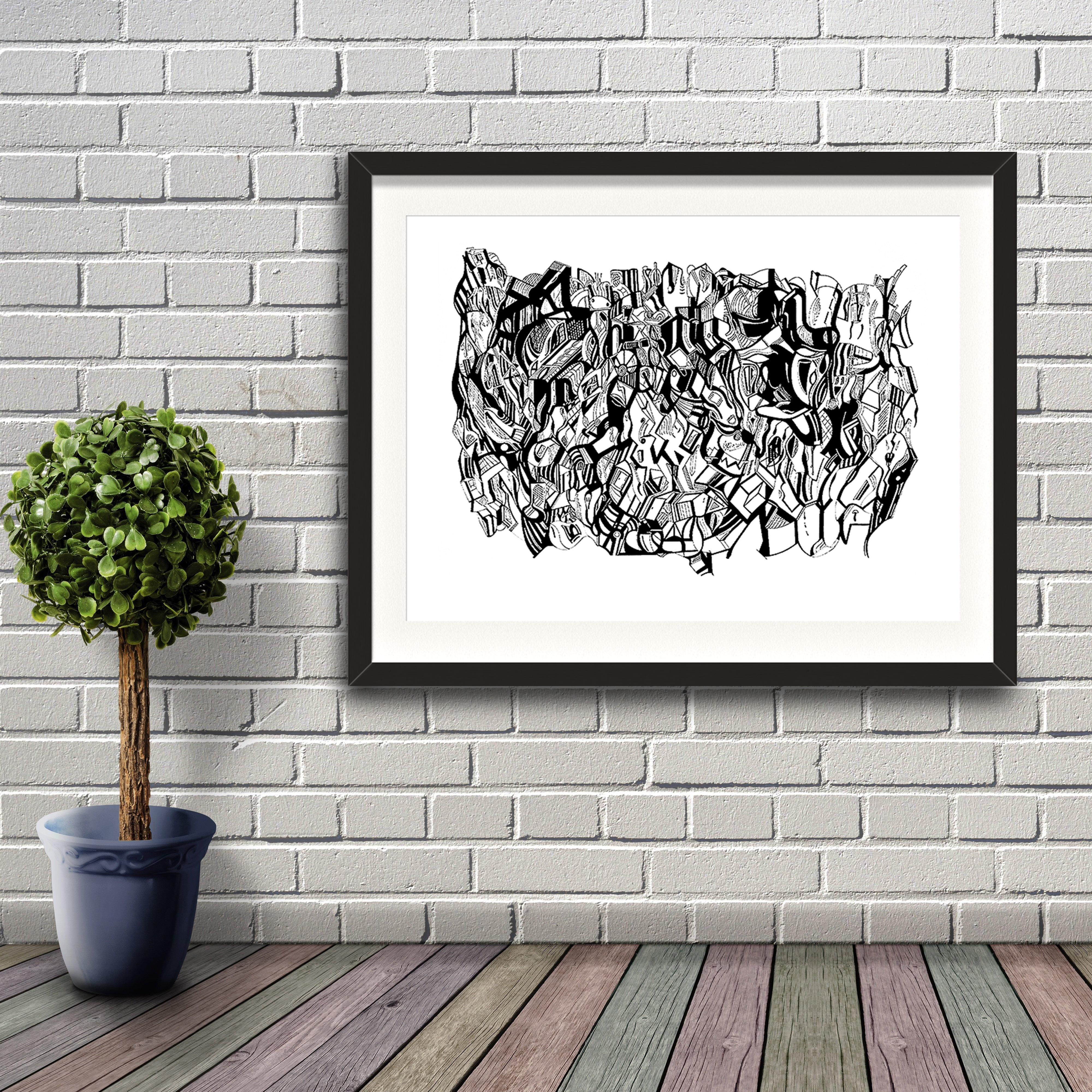 A fine art print from Jason Clarke titled Inky Depths drawn with a black Pentel pen. Dated 9/16. Artwork shown in a black frame hanging on a brick wall.