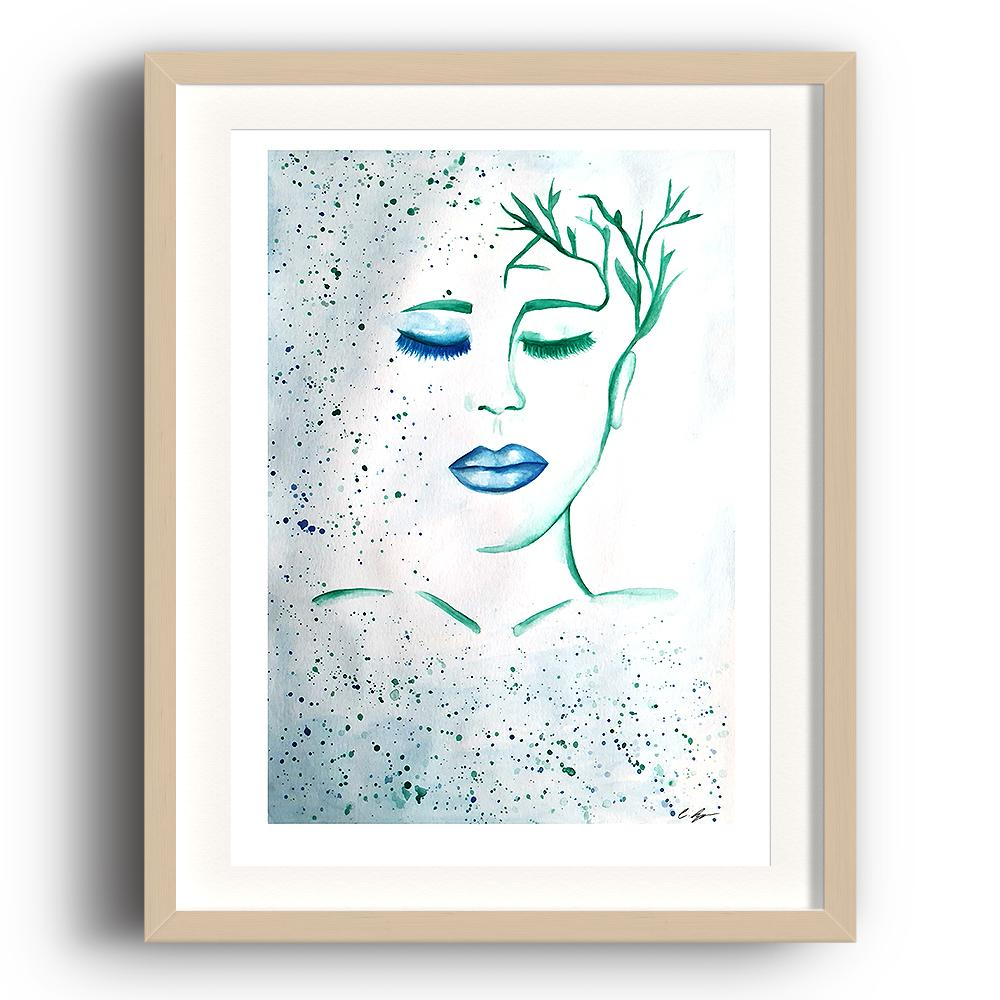 A watercolour print by Clarrie-Anne on eco fine art paper titled Patience showing a female with blue lip and hair paints as plants. The image is set in a beech coloured picture frame.