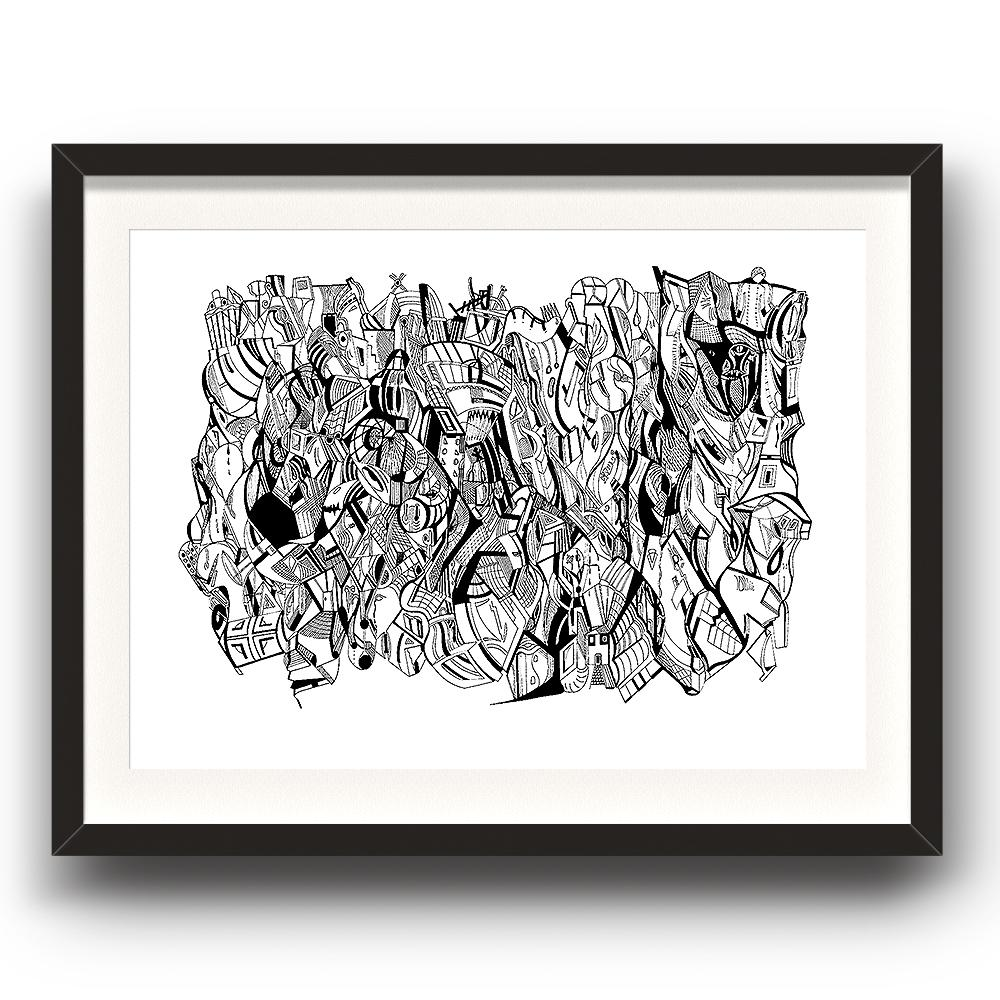 A fine art print from Jason Clarke titled It's Lonely At The Top drawn with a black Pentel pen. The image is set in a black coloured picture frame.