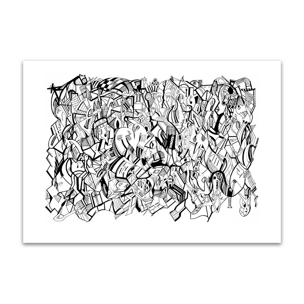 A fine art print from Jason Clarke titled Blank Stare drawn with a black Pentel pen.