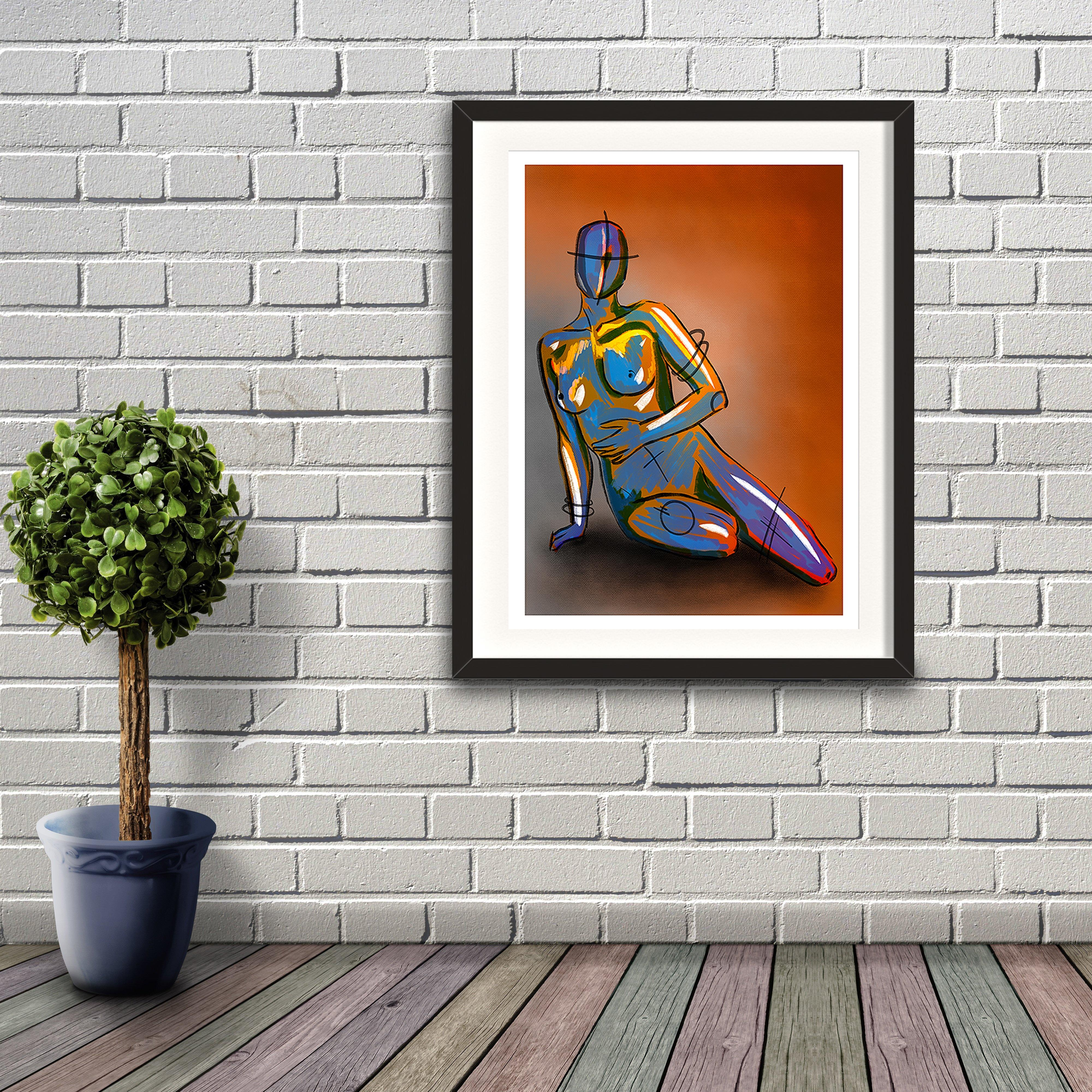 A digital painting called Naked Concept by Lily Bourne. A robotic figurine is sitting overlaid with yellow and lilac paint strokes. Orange and grey background. Artwork shown in a black frame hanging on a brick wall.