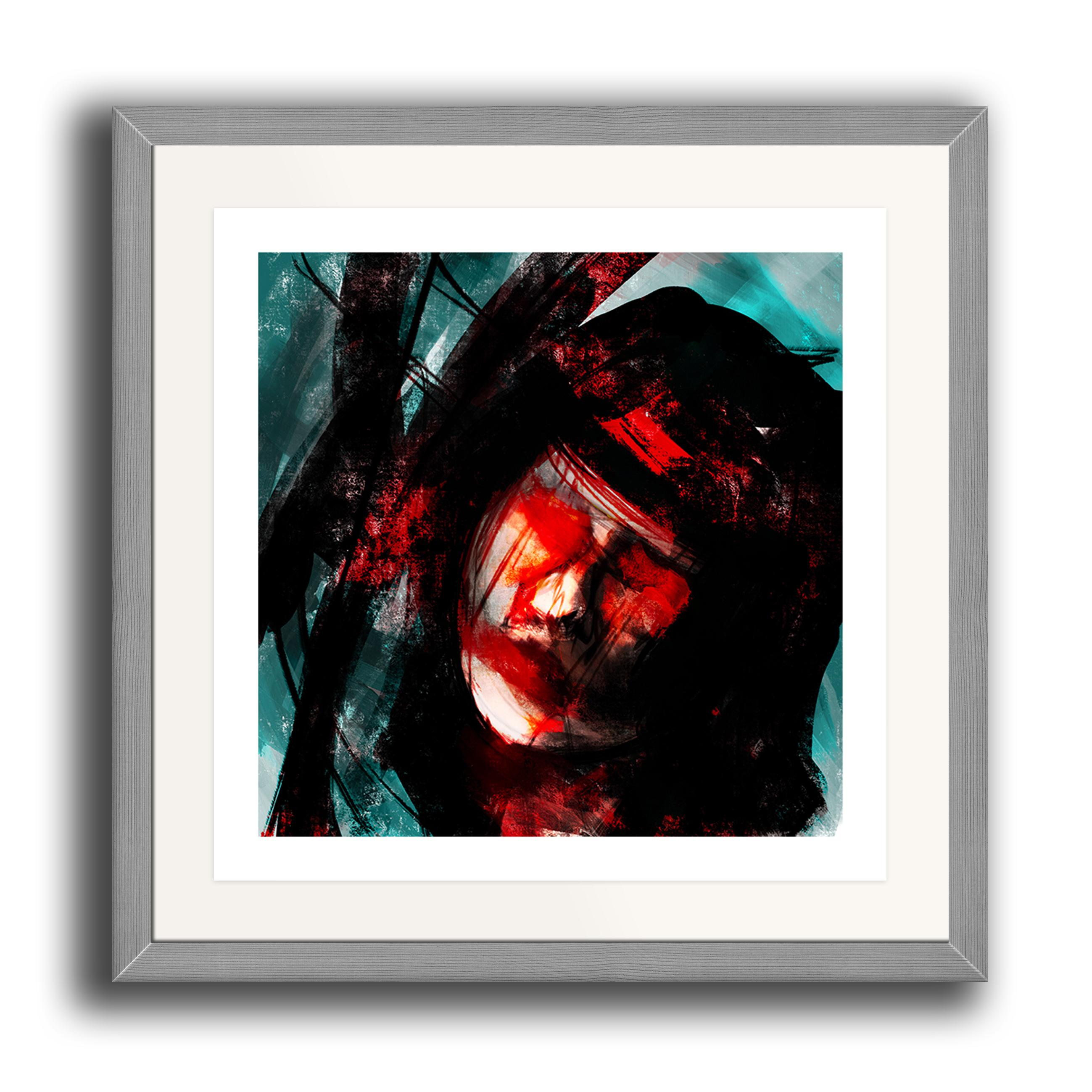 An abstract digital painting by Lily Bourne printed on eco fine art paper titled Tuned showing a female face amongst turquoise, black and red lines. The image is set in a grey coloured picture frame.