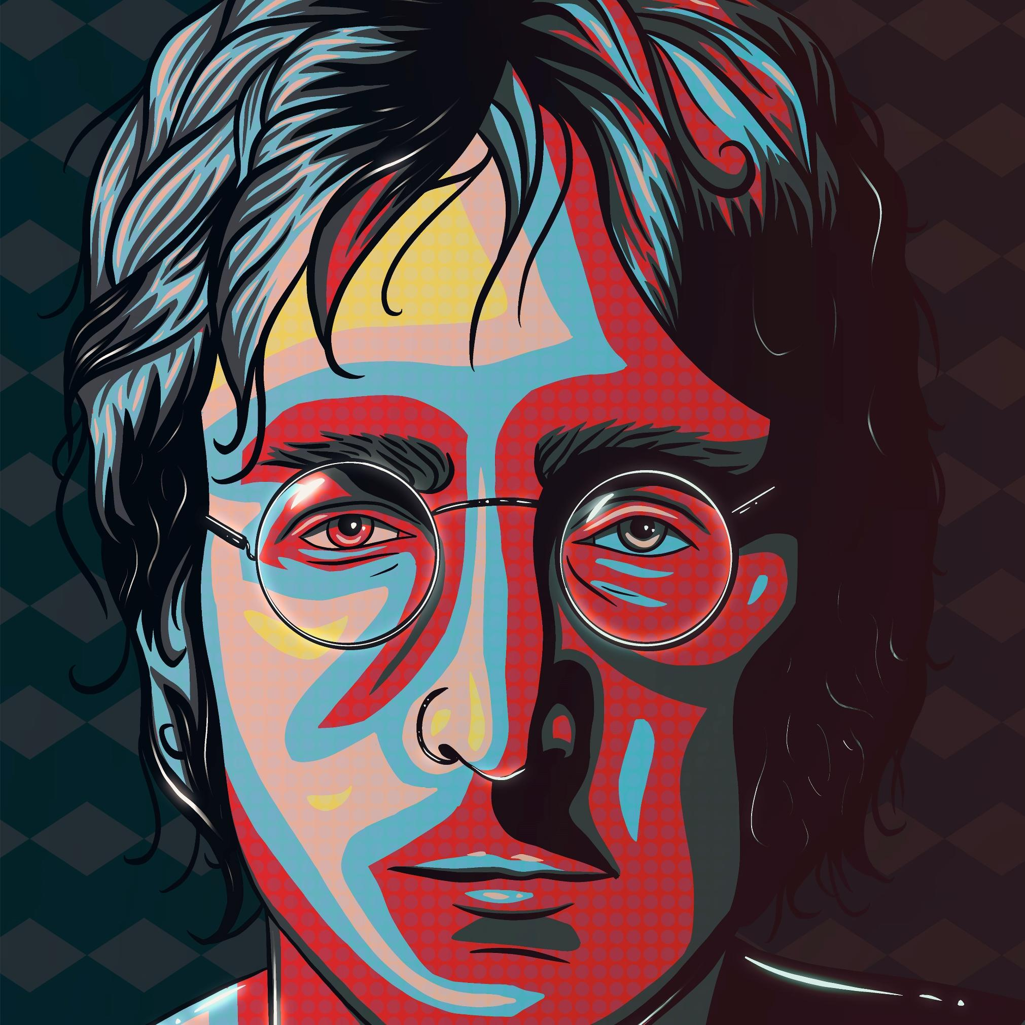 A digital painting in the form of pop art by Lily Bourne of John Lennon from the 1960s. Red, yellow, blue and black in colour.
