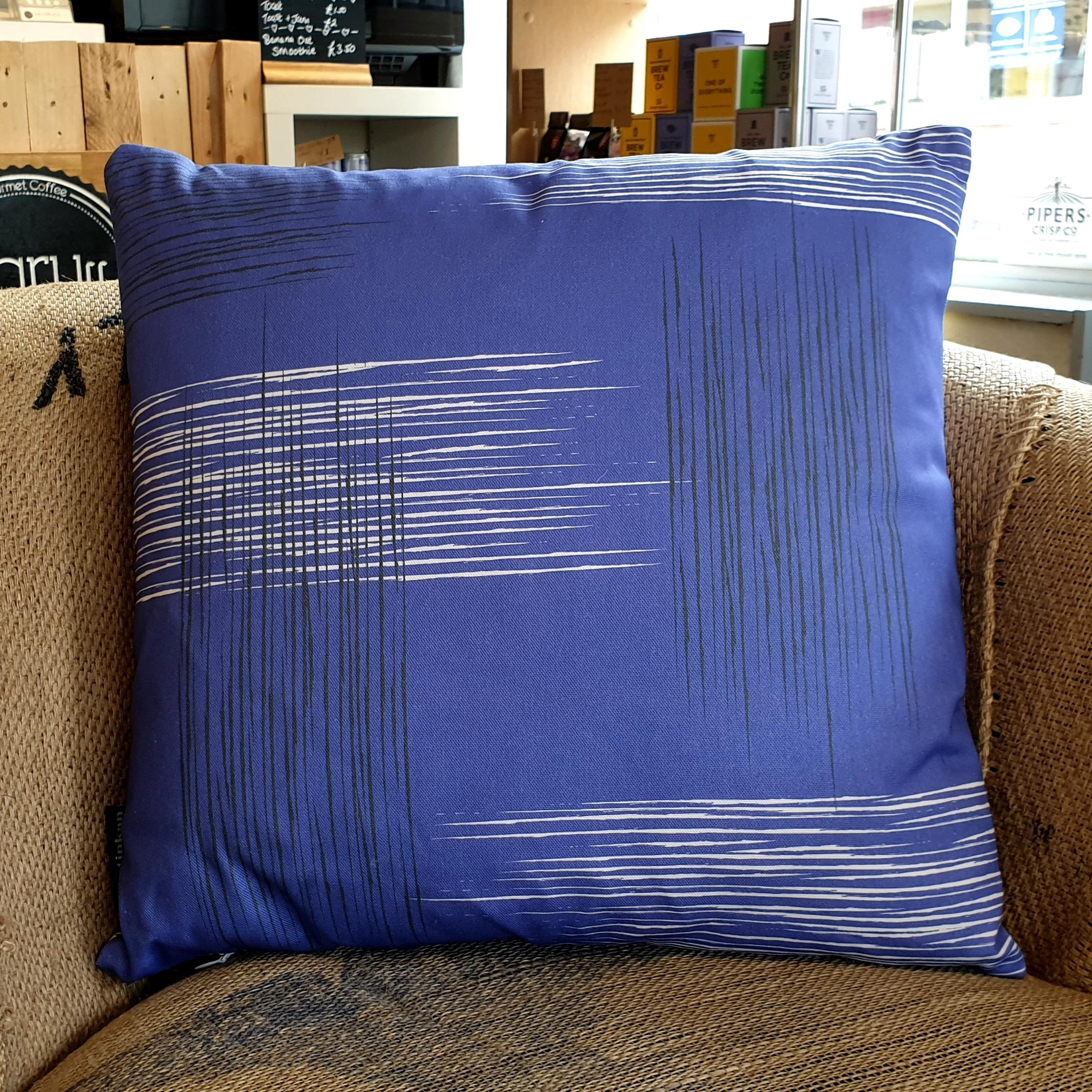 Double-sided violet purple 45cm square retro themed cushion with artistic grey and white shards designed by thetinkan. Available with an optional luxury cushion inner pad. VIEW PRODUCT >>
