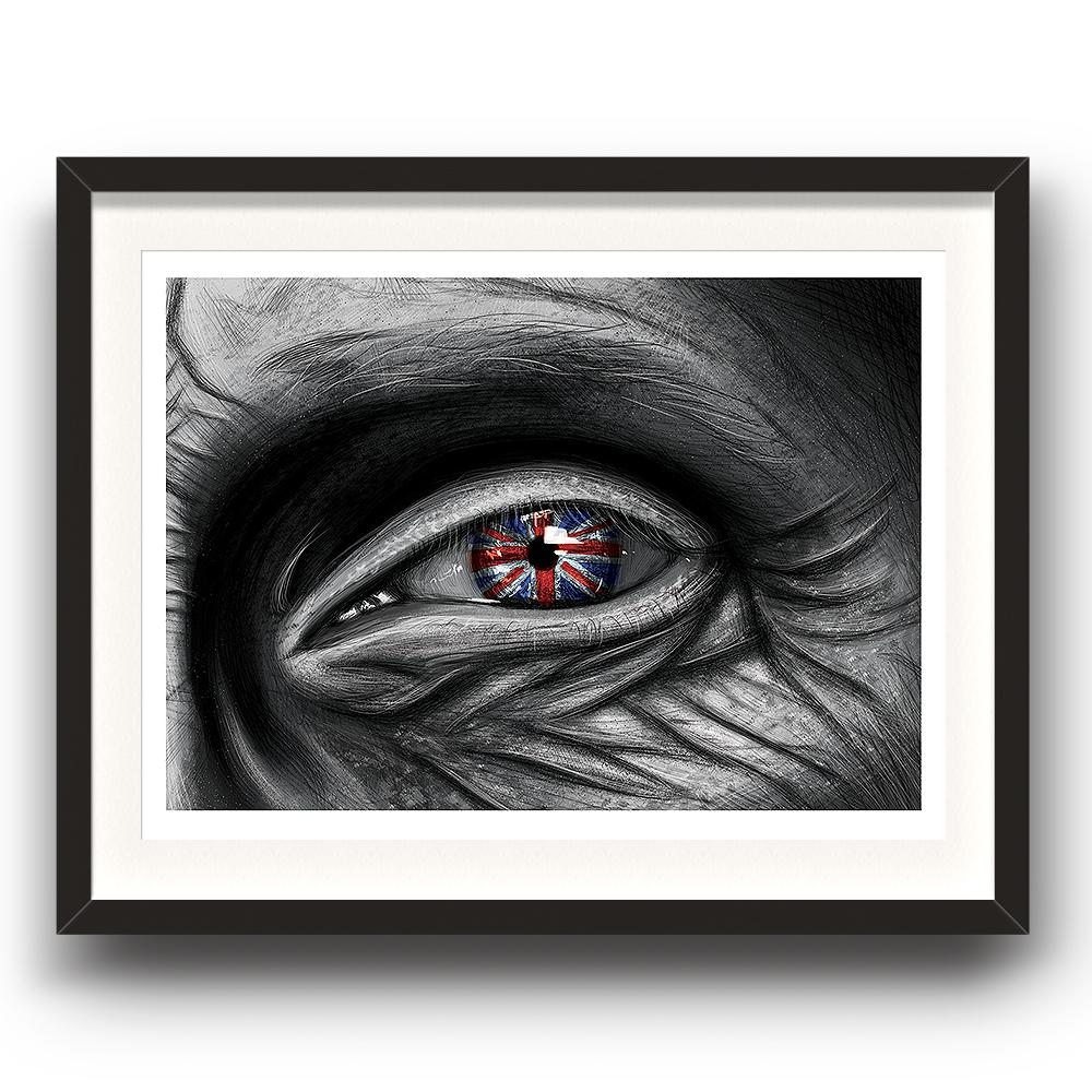 A digital painting by Lily Bourne called Patriot showing the closeup of an elderly persons eye with wrinkled skin around it showing the reflection of a union jack in the iris. Image in a black picture frame.