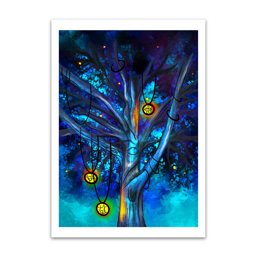 A digital painting called Cildhād Treeby Lily Bourne. Cildhād Tree is old English for Childhood Tree. The digital painting showing the branches of a mystical tree with lit lanterns hanging from the branches with a blue sky.