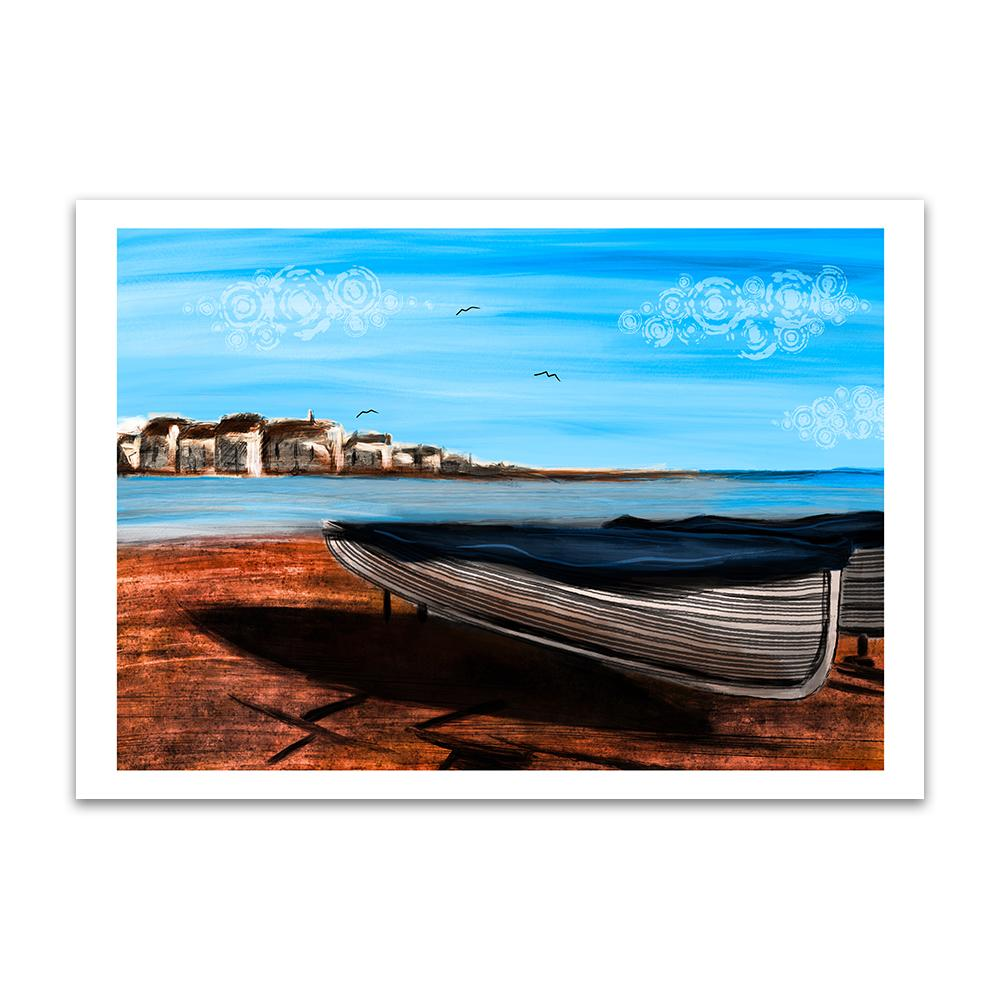 A digital painting called Shaldon Sands by Lily Bourne showing the red sands of Shaldon in Devon with a beached boat looking across the estuary to Teignmouth.