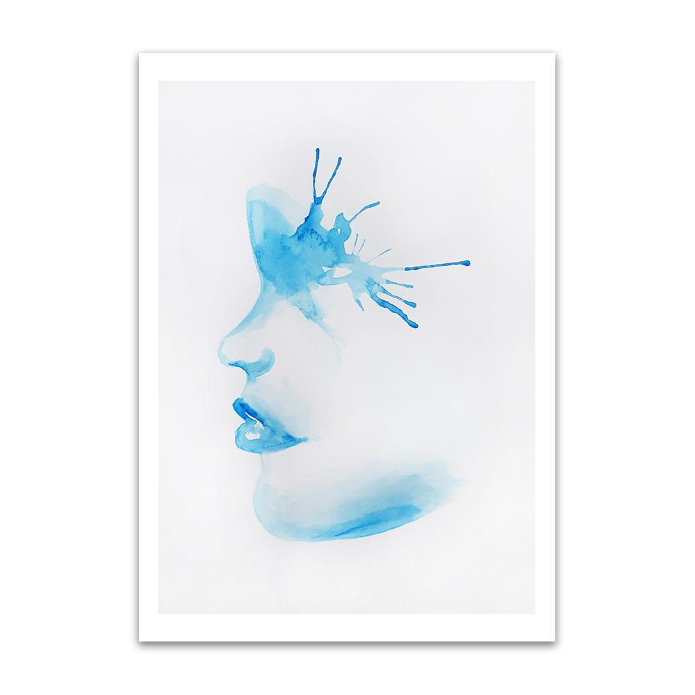 A watercolour print by Clarrie-Anne on eco fine art paper titled A Splash Of The Blues show a blue watercoloue side profile of a female face with a paint splash around the eye.