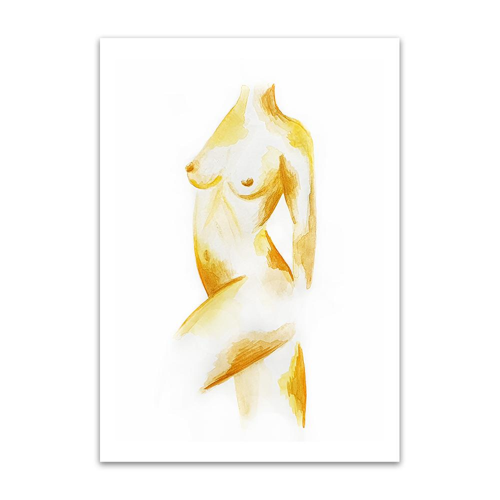 A watercolour print by Clarrie-Anne on eco fine art paper titled Freedom a naked female form painted in ochre.