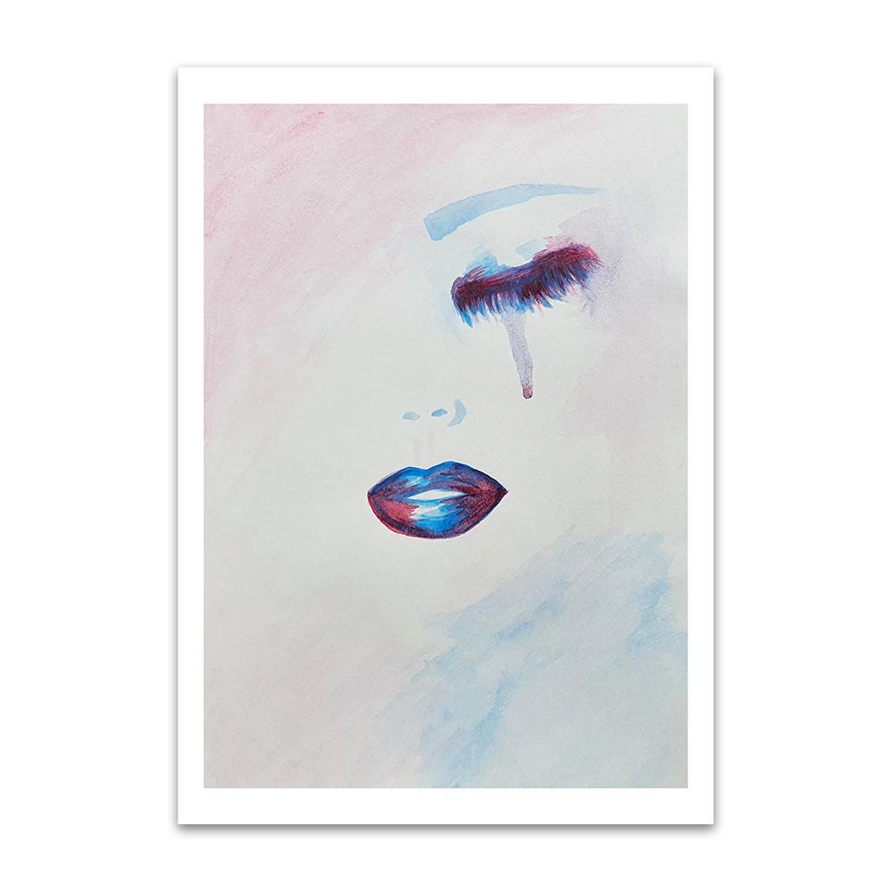 A watercolour print by Clarrie-Anne on eco fine art paper titled Lure showing a closed eye and lips of a female in purple and blue. A tear is falling from the eye.