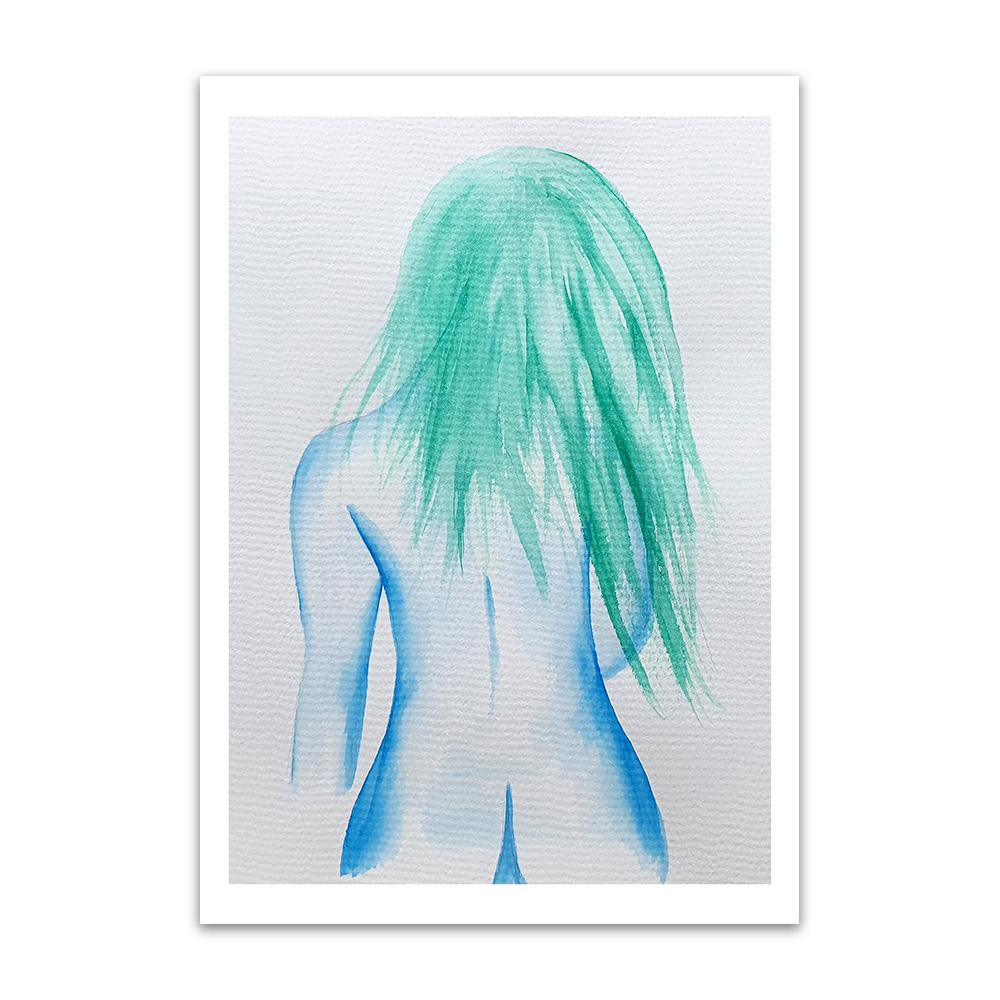 A watercolour print by Clarrie-Anne on eco fine art paper titled That Girl showing the rear of a naked blue lined female with green hair trailing down her back.