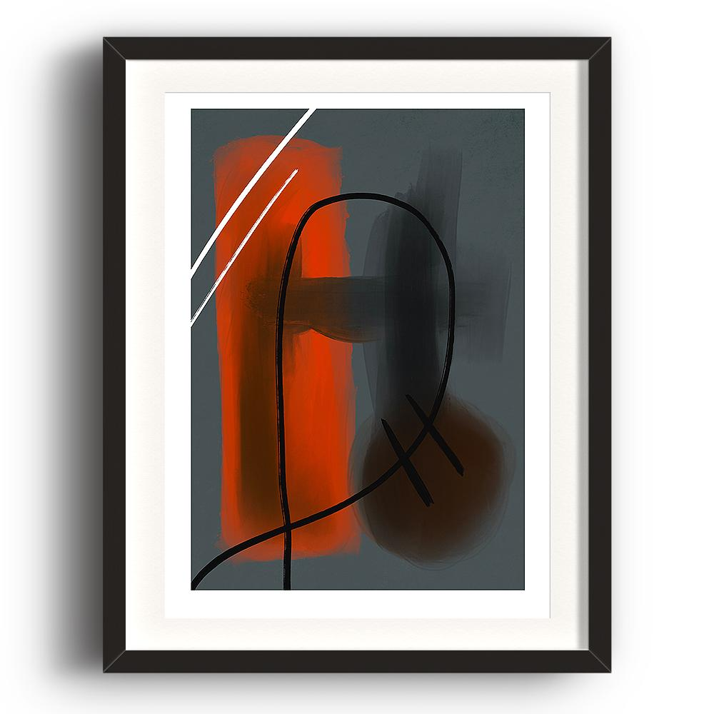 An abstract digital painting by Lily Bourne printed on eco fine art paper titled Warmth Prevailing showing warmth red tones against blue. Hand drawn black and white lines crossing the colours. The image is set in a black coloured picture frame.