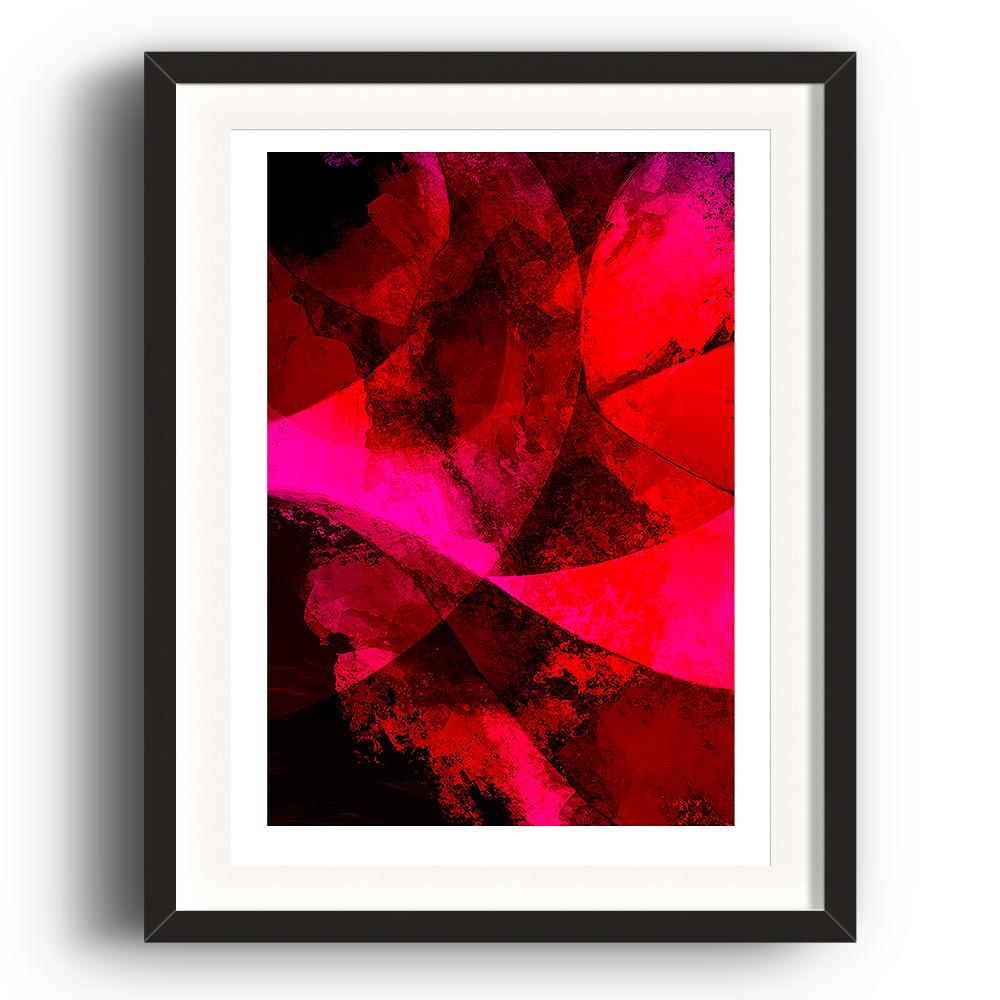 A digital painting by Lily Bourne printed on eco fine art paper titled Red Passion From Within showing a series of curved lines and textures colour red, bright pink and black. The image is set in a black coloured picture frame.