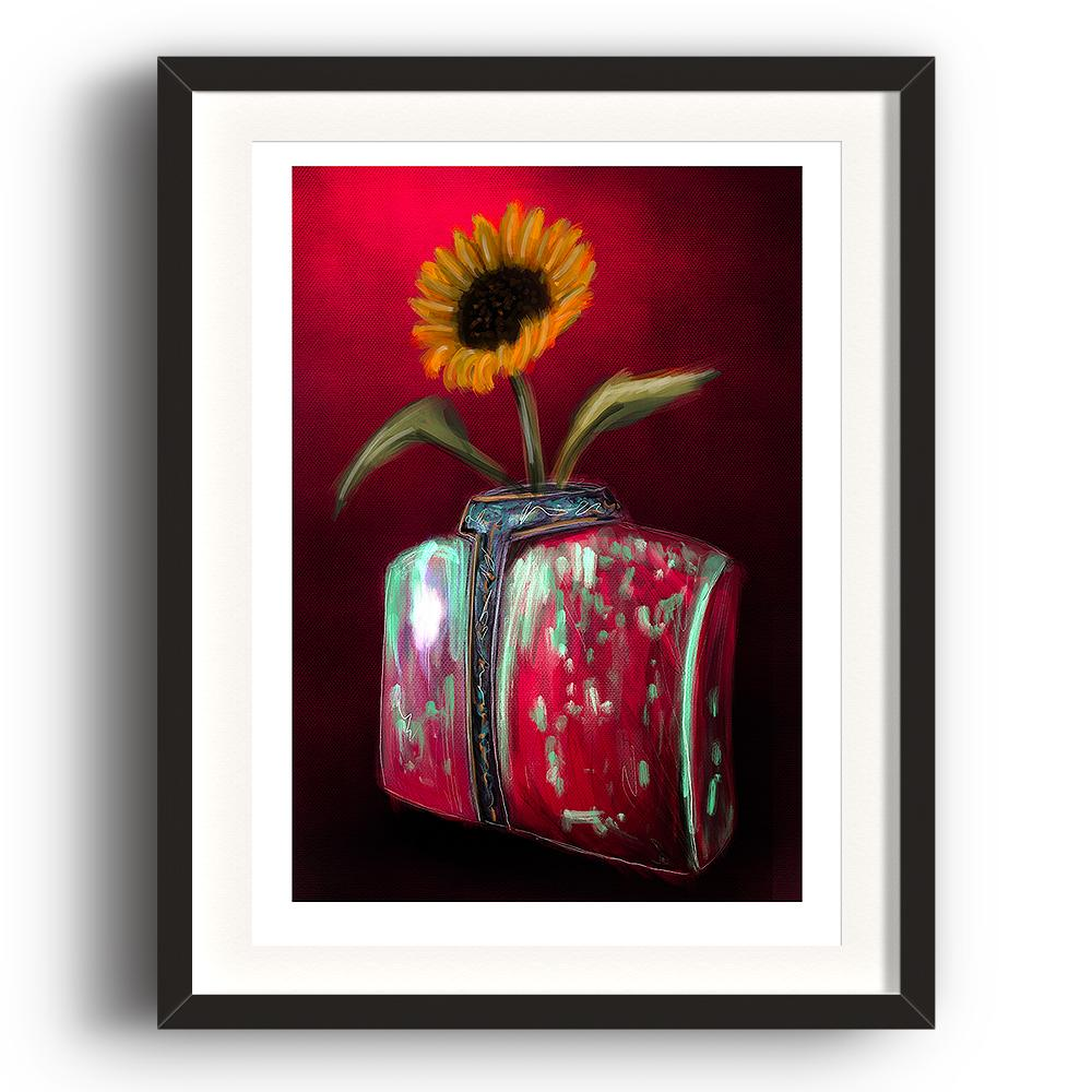 A digital painting by Lily Bourne printed on eco fine art paper titled Blooming showing a solitary sunflower in a torso shaped red and green coloured against a deep red wall. The image is set in a black coloured picture frame.