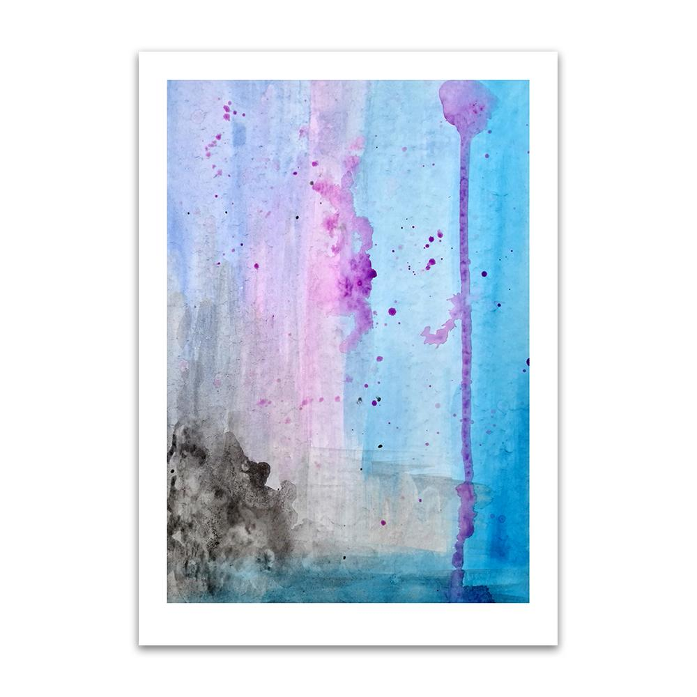 An abstract watercolour print by Clarrie-Anne on eco fine art paper titled Lilac Skies showing a lilac, blue and black themed watercolour interpretation of the sky as the colours run down the page.
