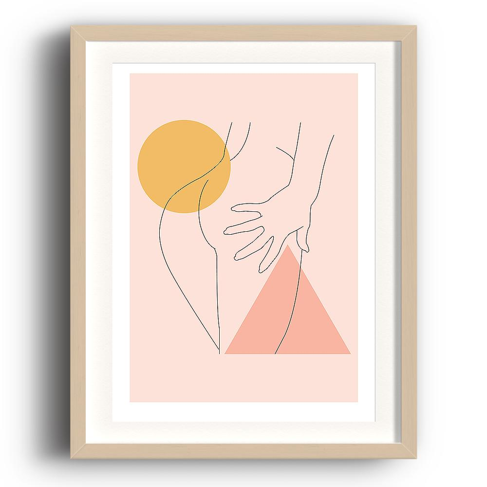 An abstract digital illustration print by Clarrie-Anne on eco fine art paper titled Double Tap showing the hand line drawn naked bottom of a femail on a peach background with triangle and square shapes added. The image is set in a beech coloured picture frame.