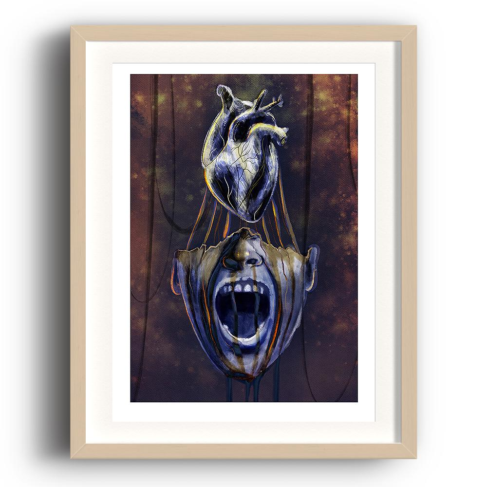 A digital painting by Lily Bourne printed on eco fine art paper titled Mind Of Midas showing an open mouth of King Midas with his heart above his head. The image is set in a beech coloured picture frame.