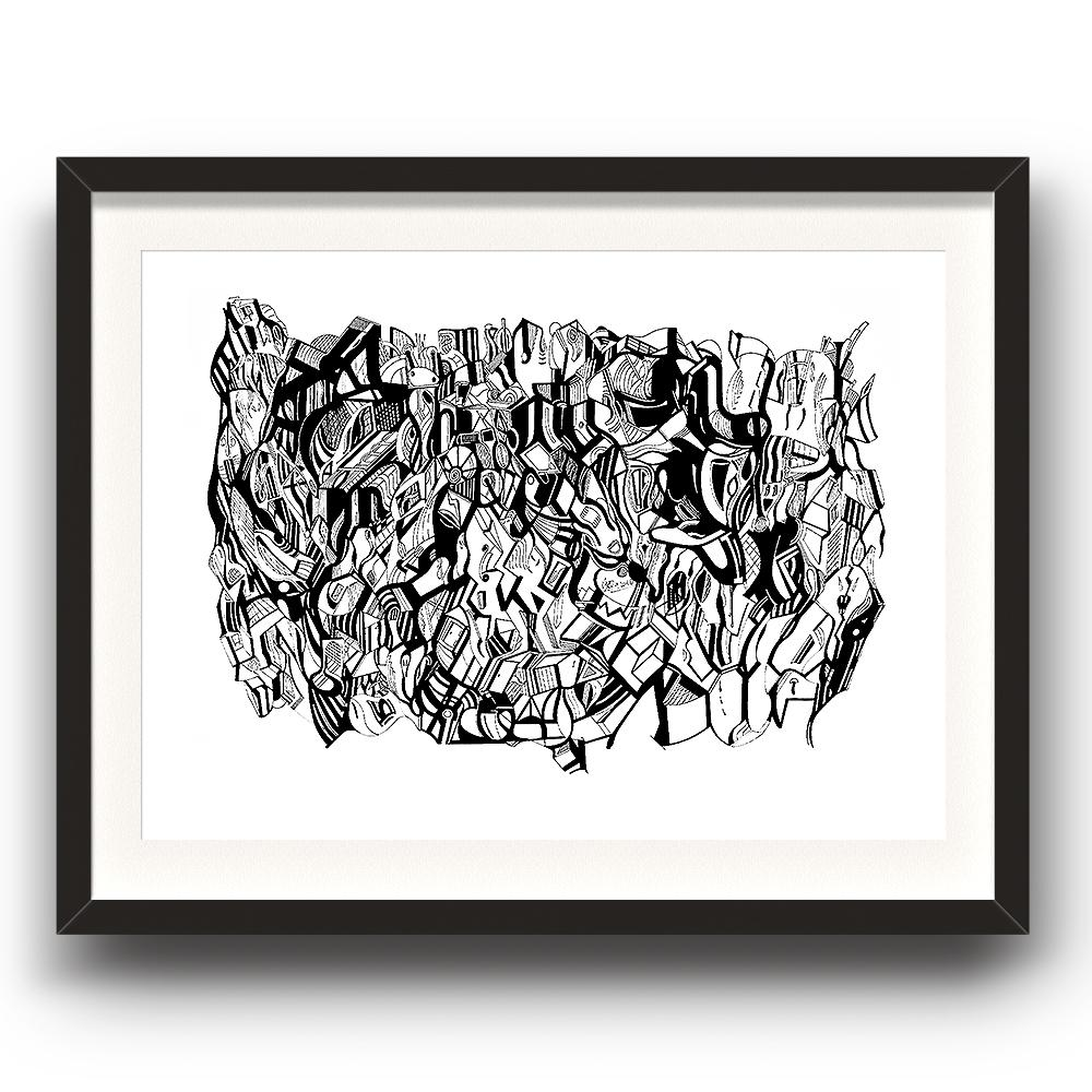 A fine art print from Jason Clarke titled Inky Depths drawn with a black Pentel pen. Dated 9/16. The image is set in a black coloured picture frame.