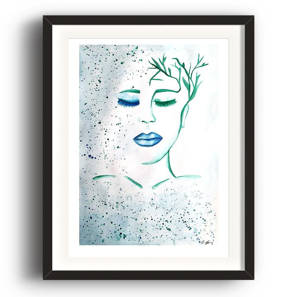 A watercolour print by Clarrie-Anne on eco fine art paper titled Patience showing a female with blue lip and hair paints as plants. The image is set in a black coloured picture frame.