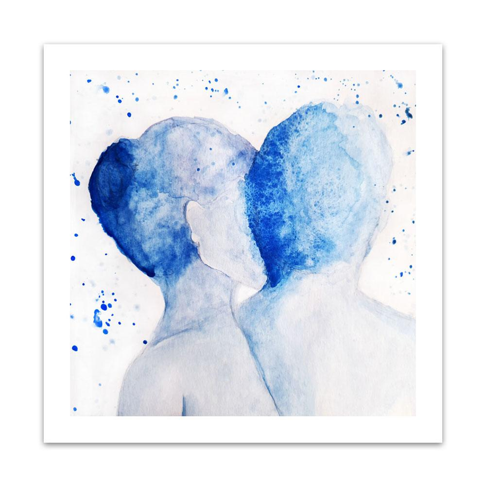 A square watercolour print by Clarrie-Anne on eco fine art paper titled Just Us showing a male and female facing away from the viewer in a partial embrace.