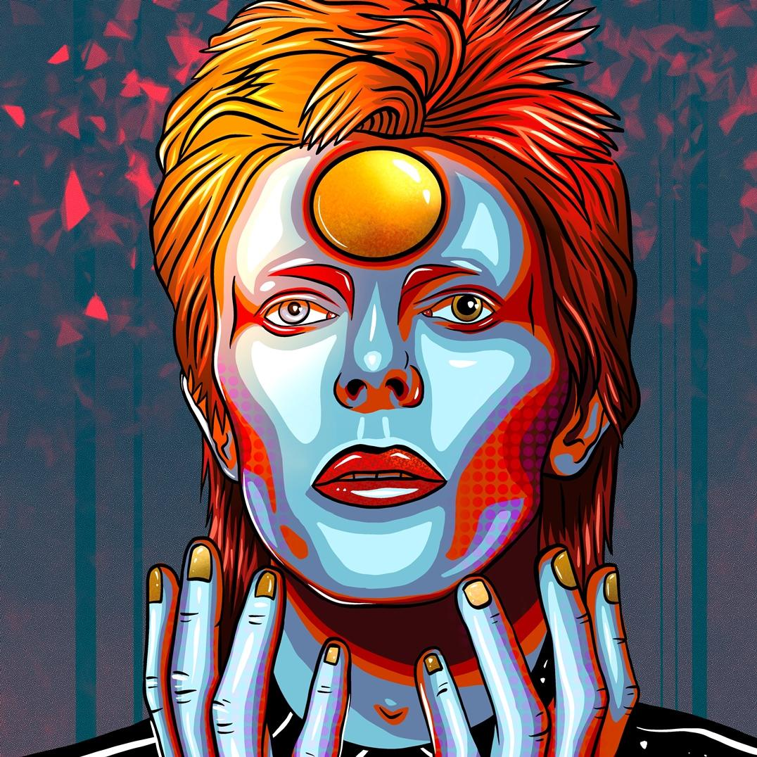 A digital painting in the form of pop art by Lily Bourne of David Bowie from his Ziggy Starduct period. Orange and blue coloured.